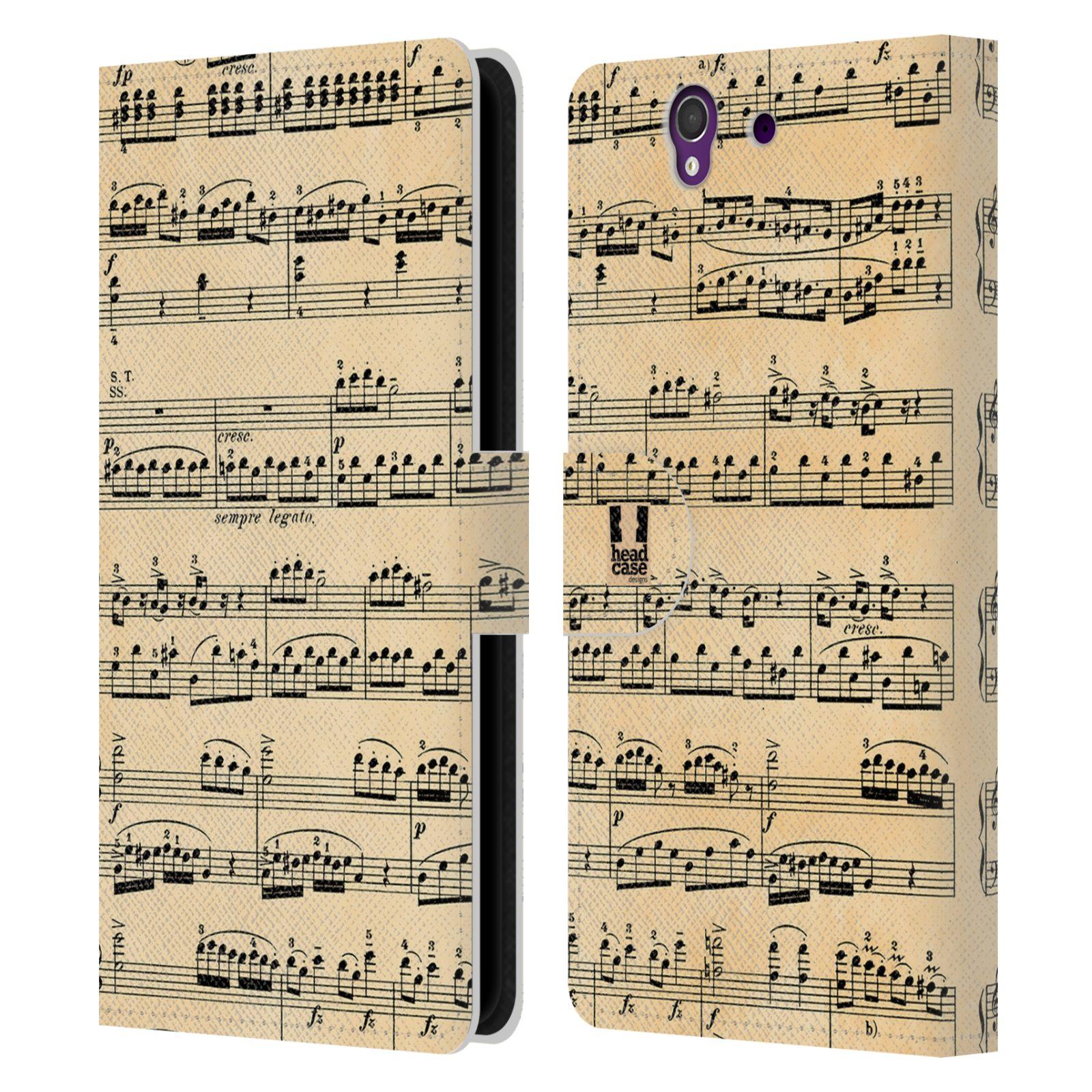 HEAD CASE Flipové pouzdro pro mobil SONY XPERIA Z (C6603) notový papír Mozart