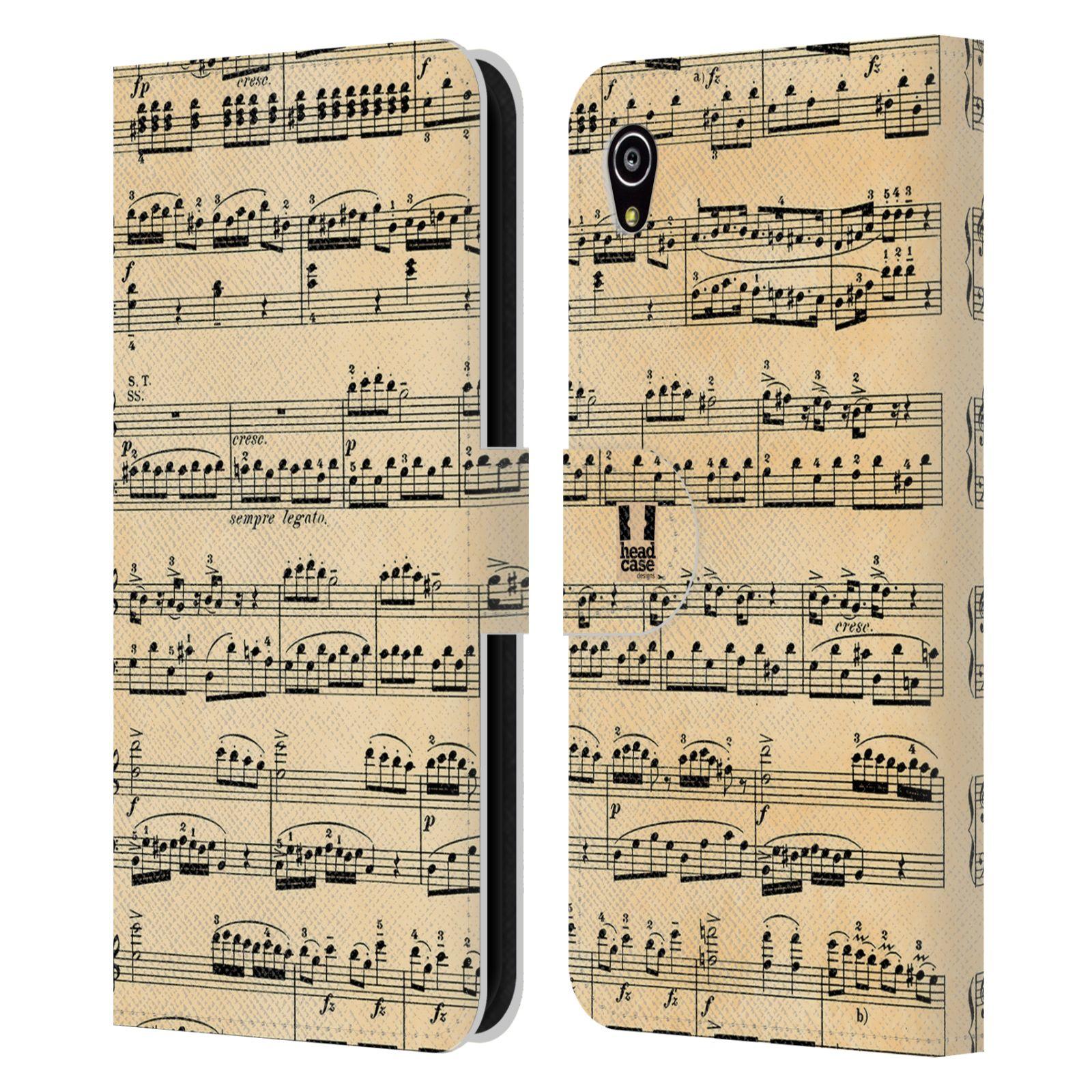 HEAD CASE Flipové pouzdro pro mobil SONY XPERIA M4 AQUA notový papír Mozart