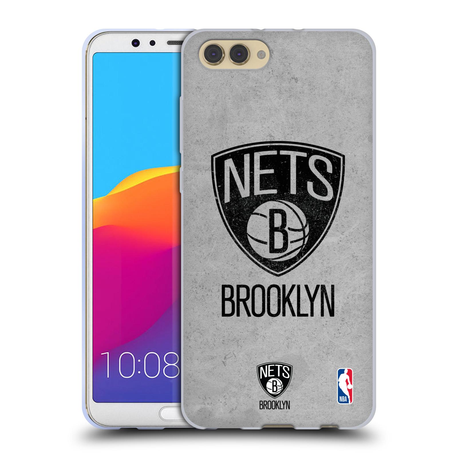 HEAD CASE silikonový obal na mobil Huawei HONOR VIEW 10 / V10 NBA Basketbalový klub Brooklyn Nets logo basketbalový míč šedá