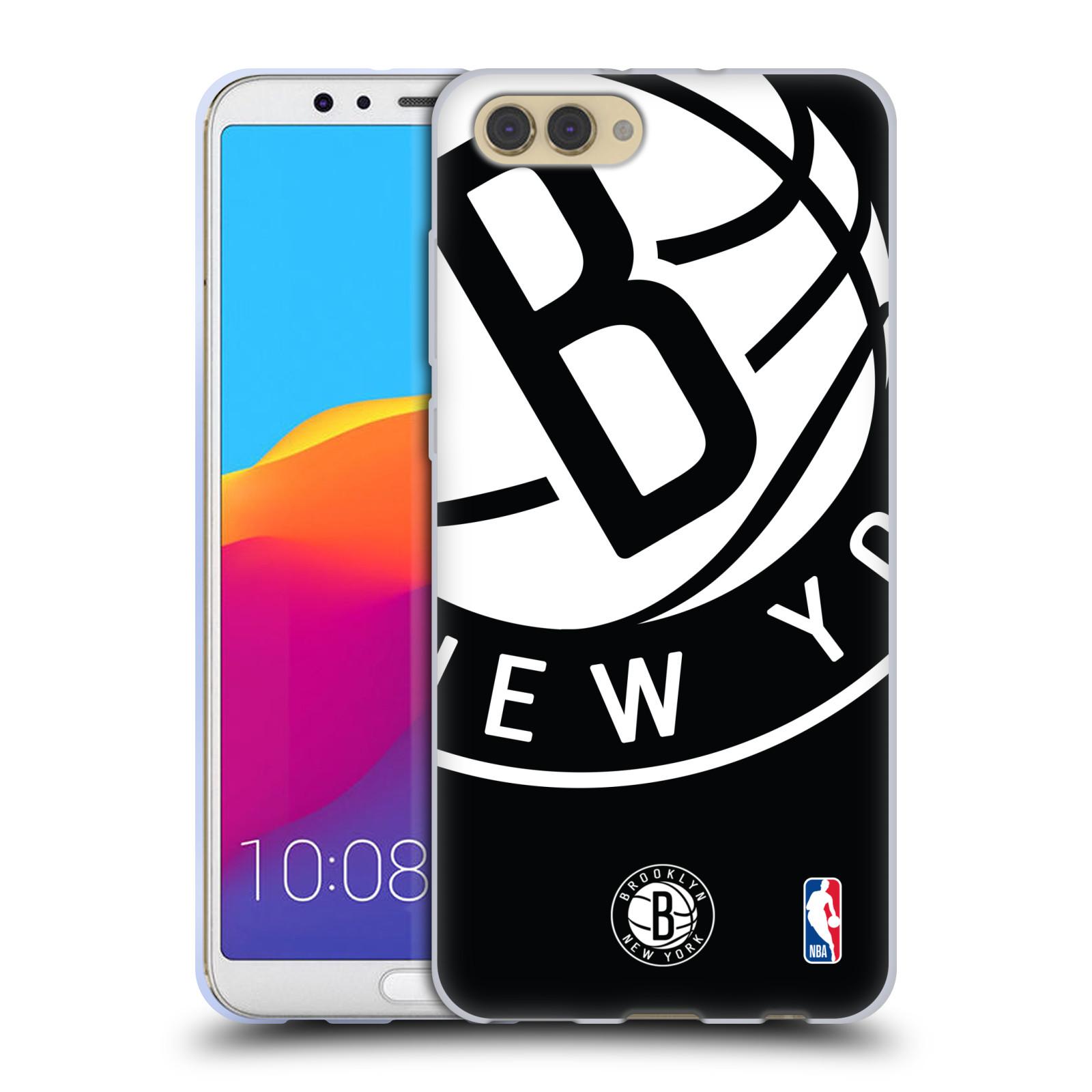 HEAD CASE silikonový obal na mobil Huawei HONOR VIEW 10 / V10 NBA Basketbalový klub Brooklyn Nets bílé logo na černém pozadí
