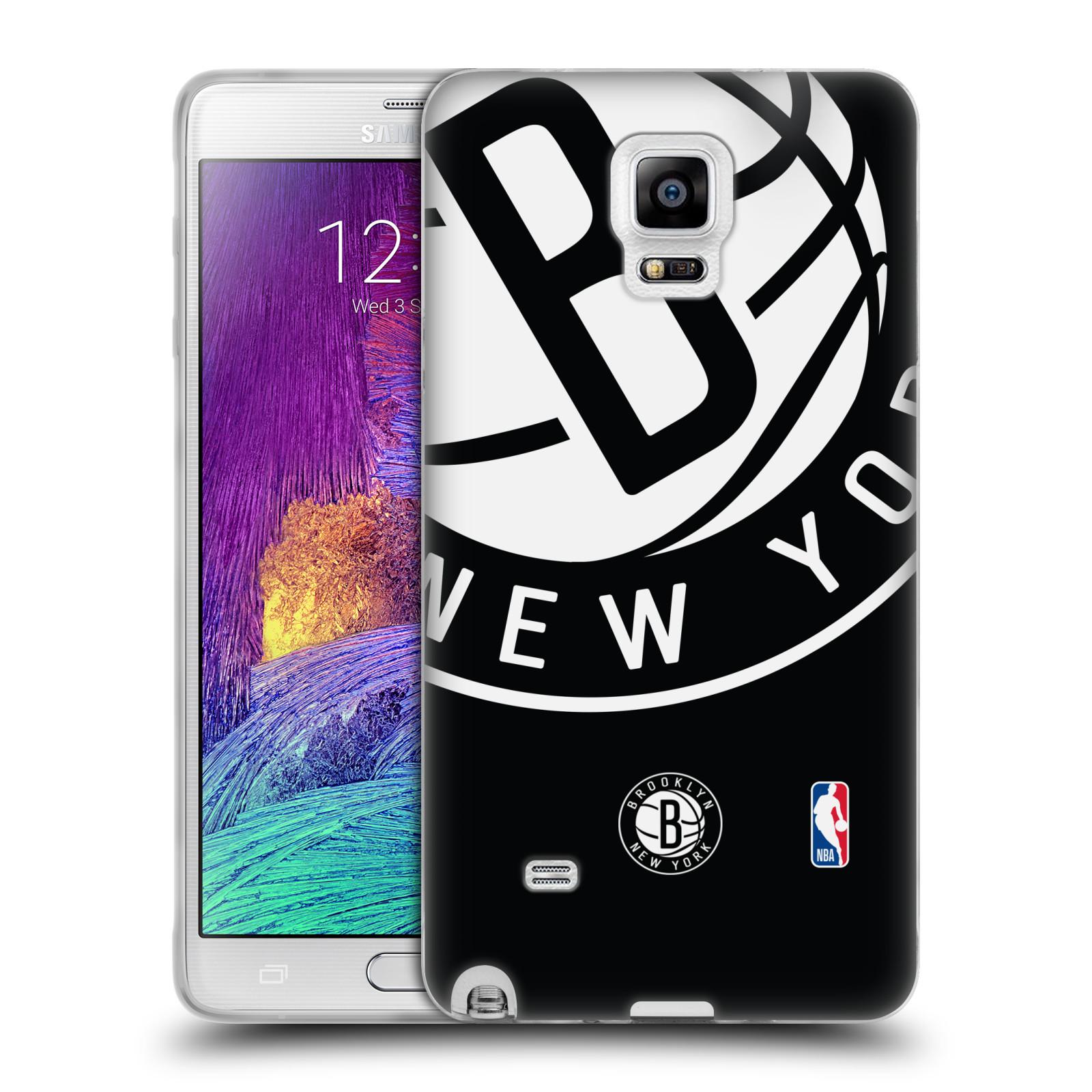 HEAD CASE silikonový obal na mobil Samsung Galaxy Note 4 NBA Basketbalový klub Brooklyn Nets bílé logo na černém pozadí