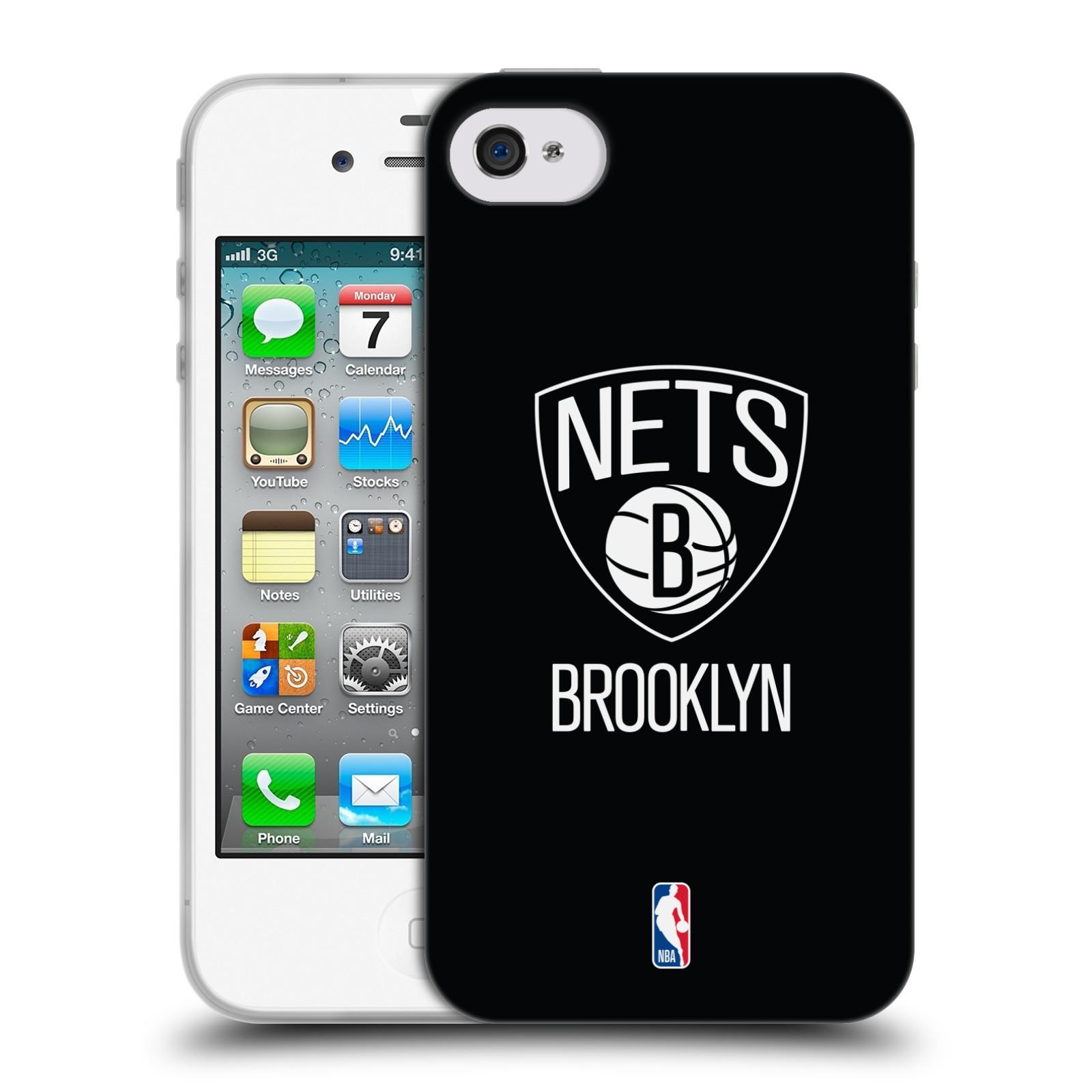 HEAD CASE silikonový obal na mobil Apple Iphone 4 4S NBA Basketbalový klub  Brooklyn Nets černá 1ff59bdf68c