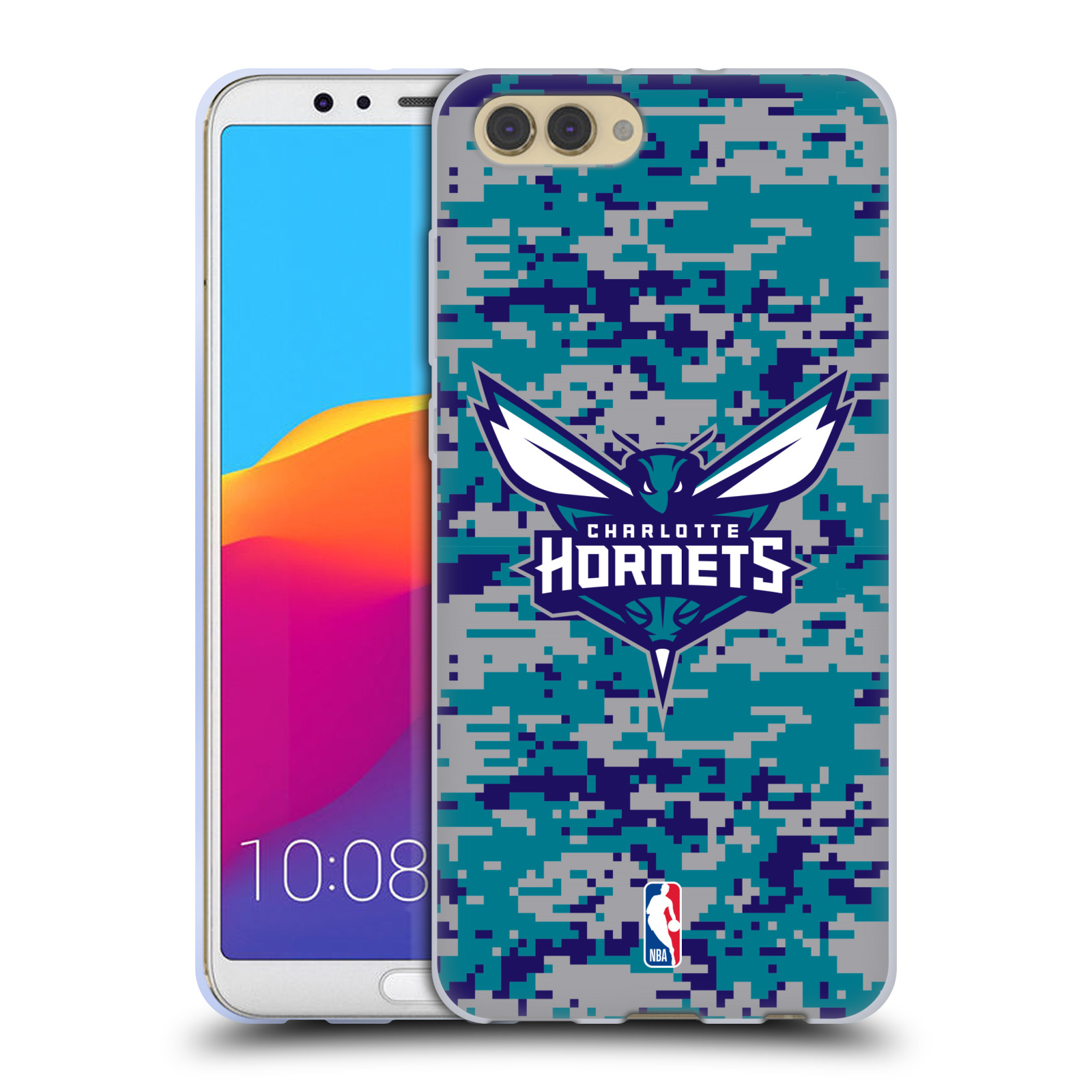 HEAD CASE silikonový obal na mobil Huawei HONOR VIEW 10 / V10 NBA Basketbalový klub Charlotte Hornets kamuflaž znak