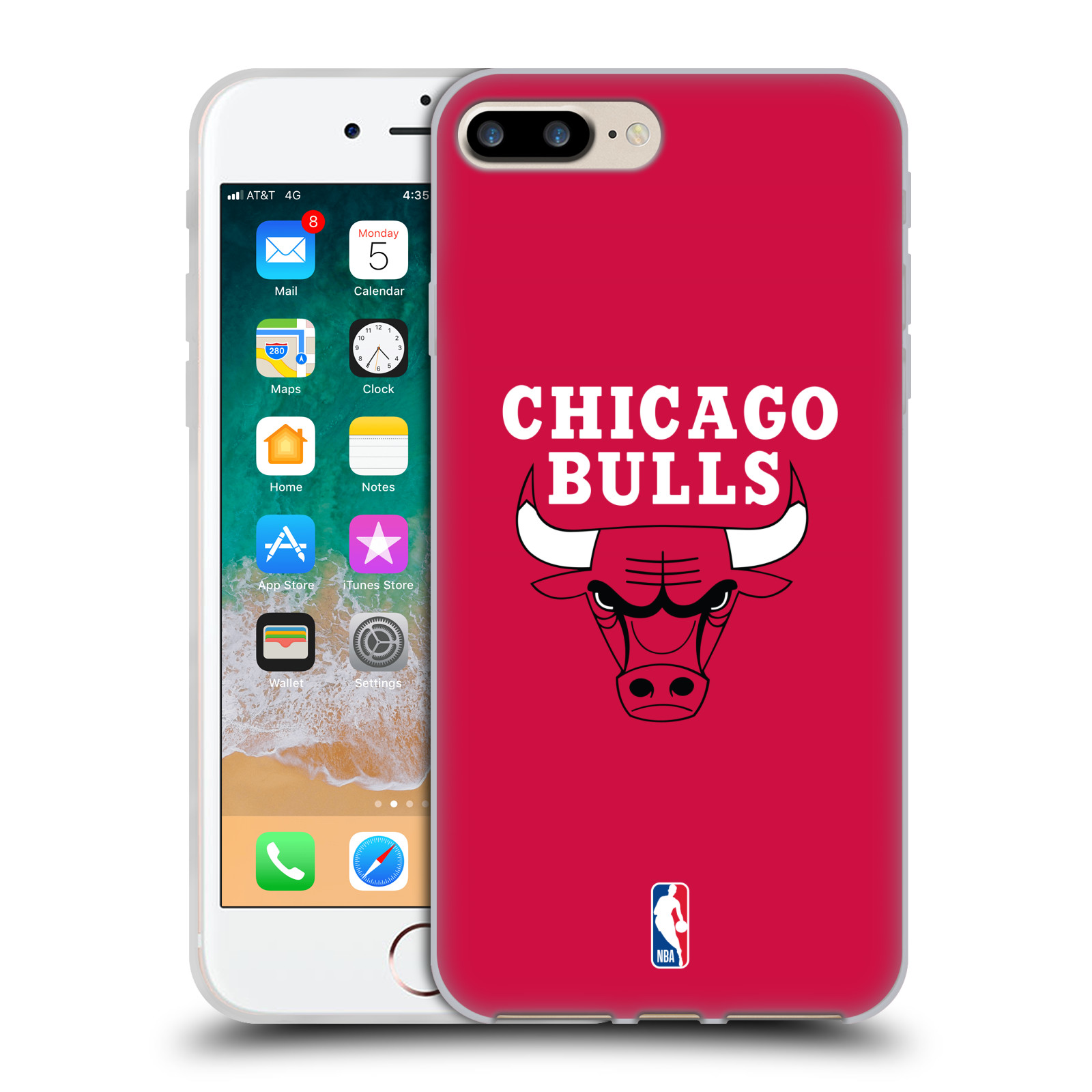 HEAD CASE silikonový obal na mobil Apple Iphone 8 PLUS NBA Basketbalový  klub Chicago Bulls logo empty aefcb07fa08