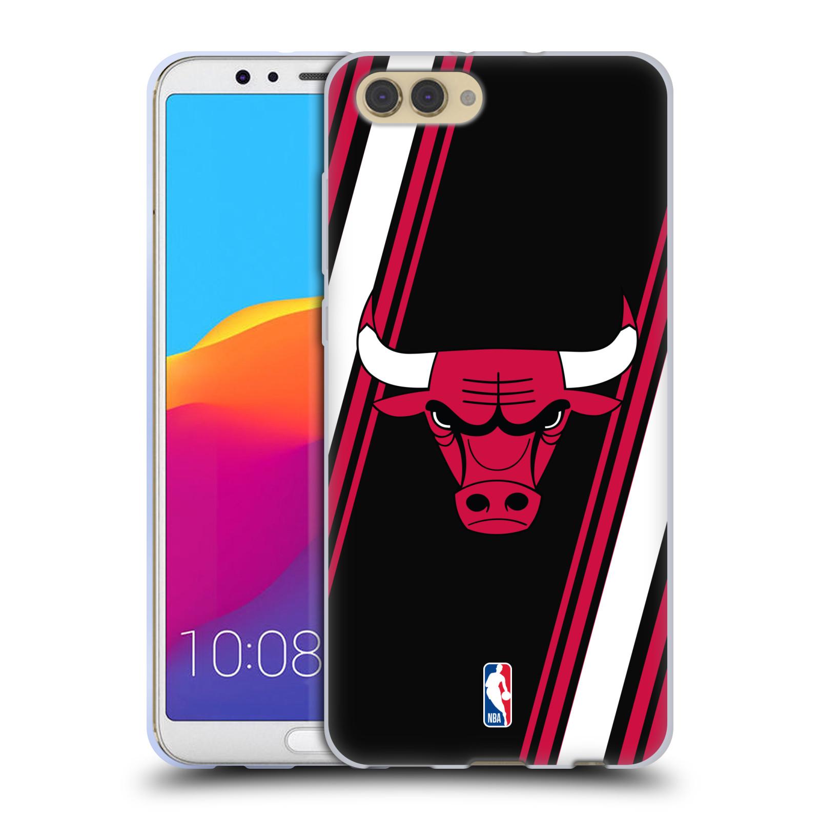 HEAD CASE silikonový obal na mobil Huawei HONOR VIEW 10 / V10 NBA Basketbalový klub Chicago Bulls logo šikmé pruhy