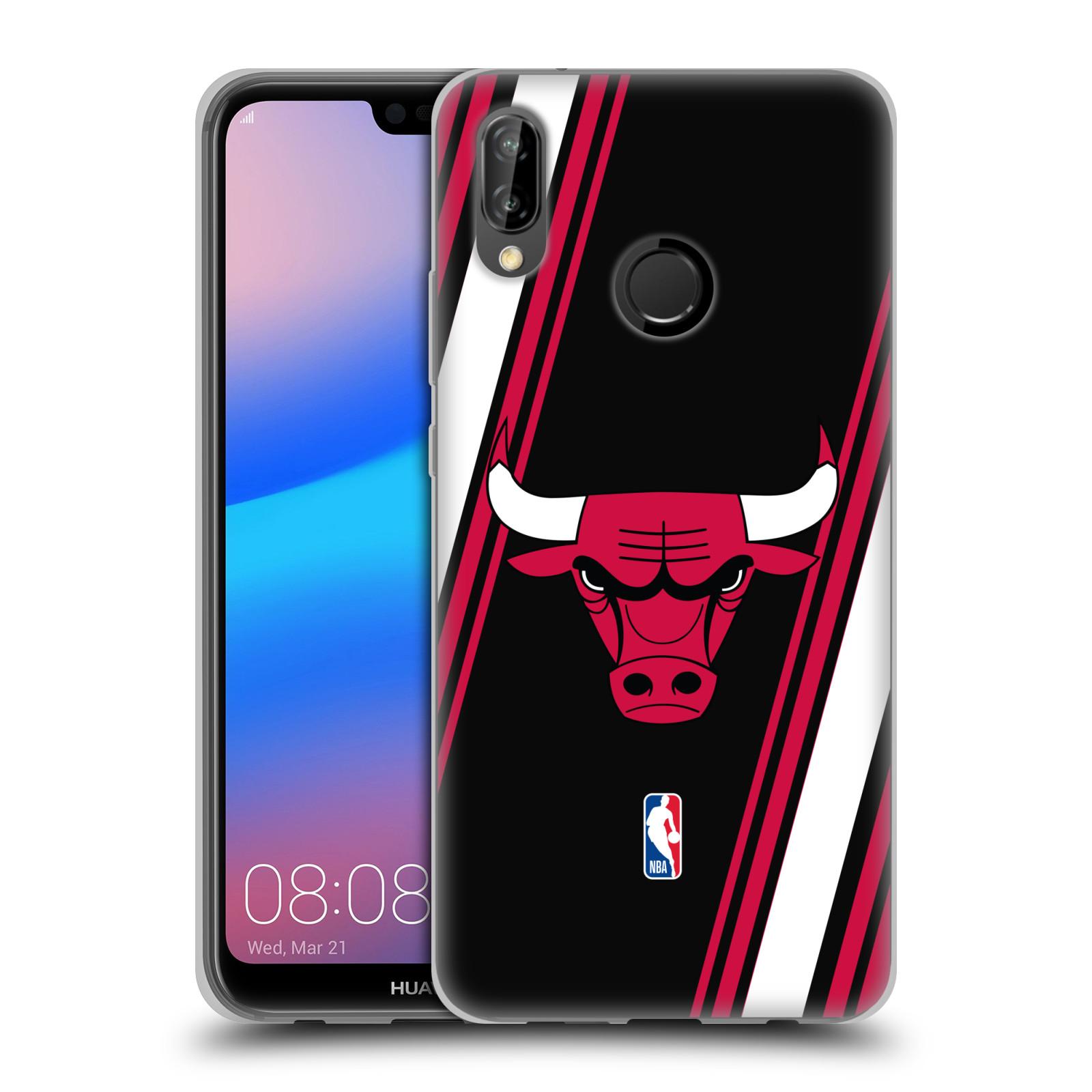 HEAD CASE silikonový obal na mobil Huawei P20 LITE NBA Basketbalový klub Chicago Bulls logo šikmé pruhy