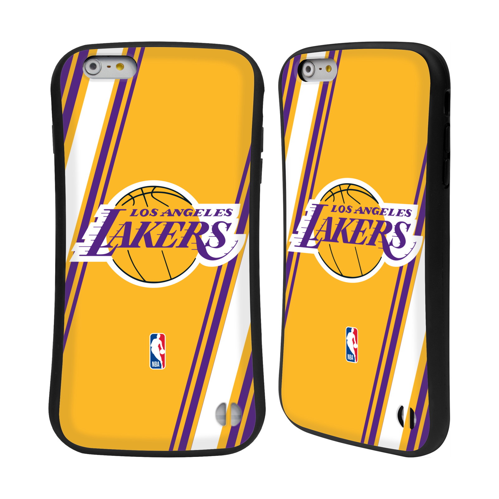 HEAD CASE odolný obal na mobil Apple Iphone 6/6S PLUS NBA Basketbalový klub Los Angeles Lakers žlutá barva pruhy