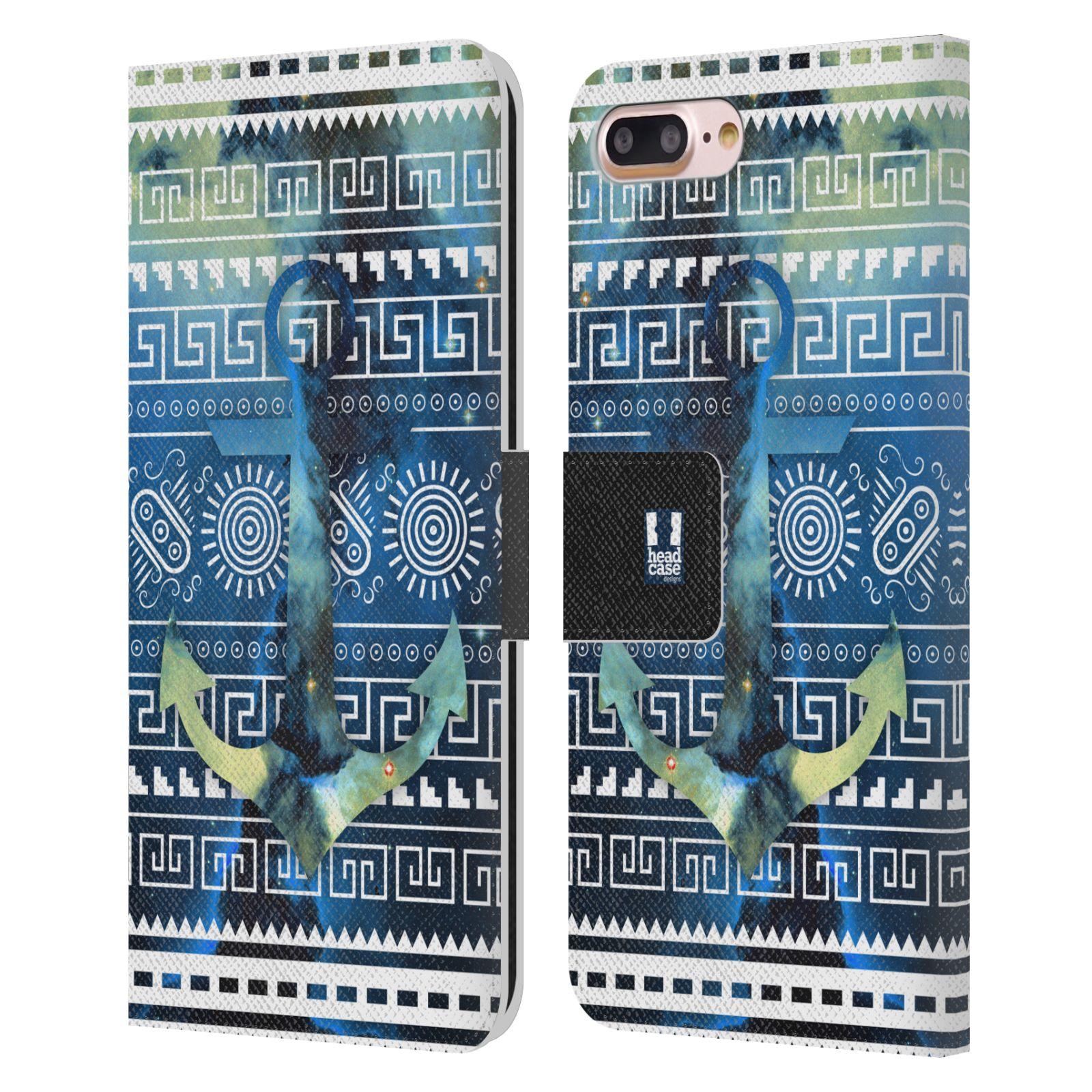 HEAD CASE Flipové pouzdro pro mobil Apple Iphone 7 PLUS / 8 PLUS aztécký motiv vesmírná mlhovina modrá kotva