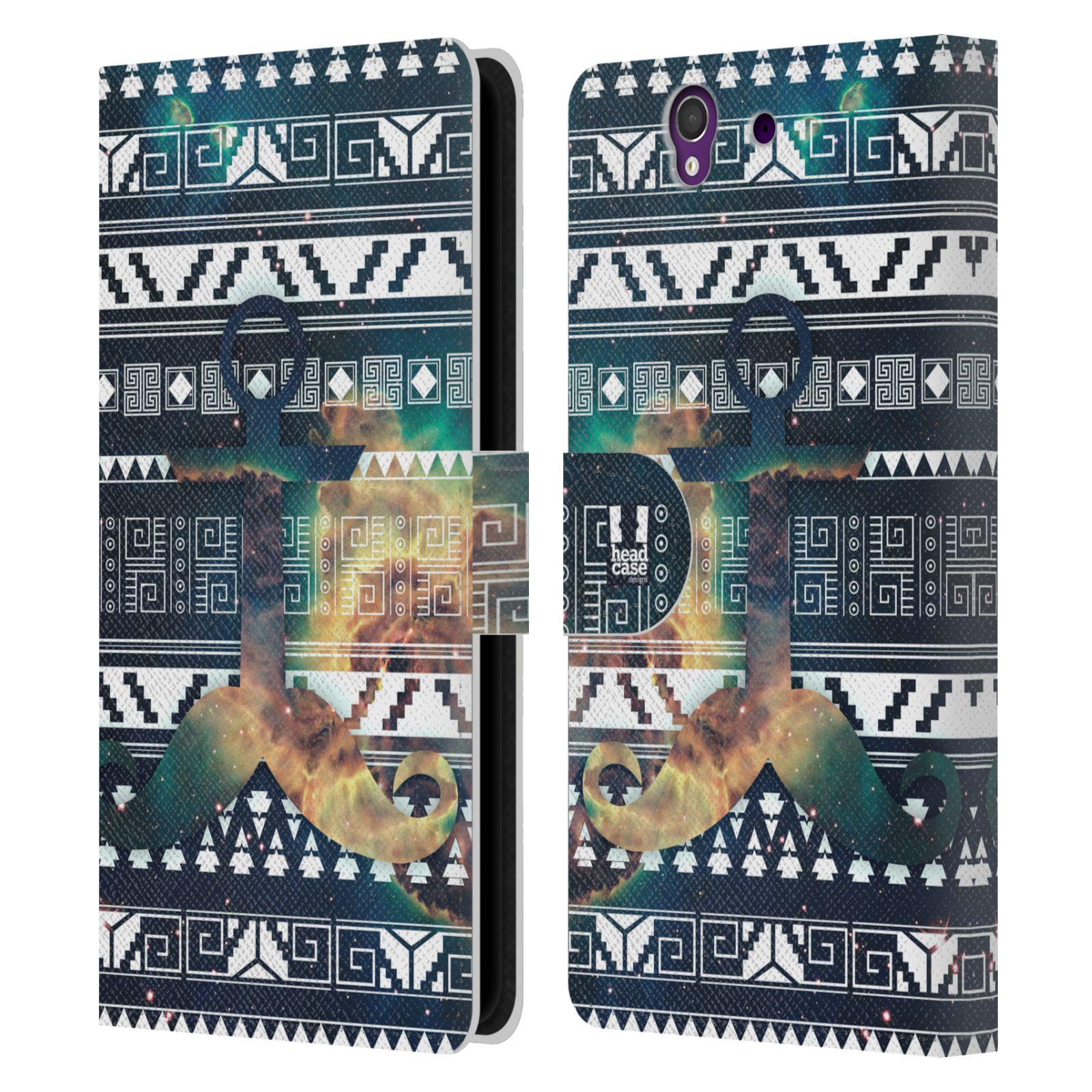 HEAD CASE Flipové pouzdro pro mobil SONY XPERIA Z (C6603) aztécký motiv vesmírná mlhovina zelená knírek a kotva