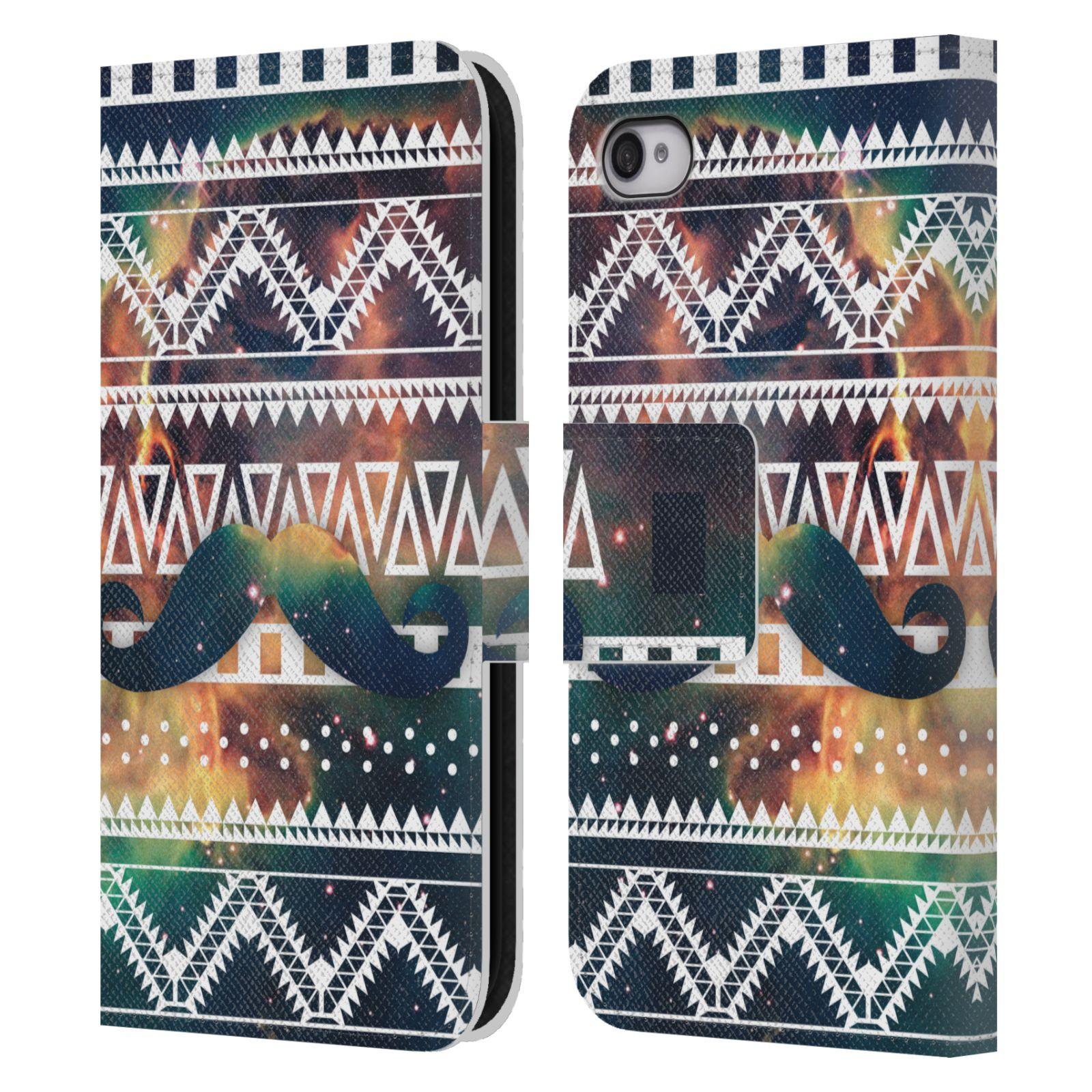 HEAD CASE Flipové pouzdro pro mobil Apple Iphone 4 4s aztécký motiv  vesmírná mlhovina zelená empty 87d24ee6e21