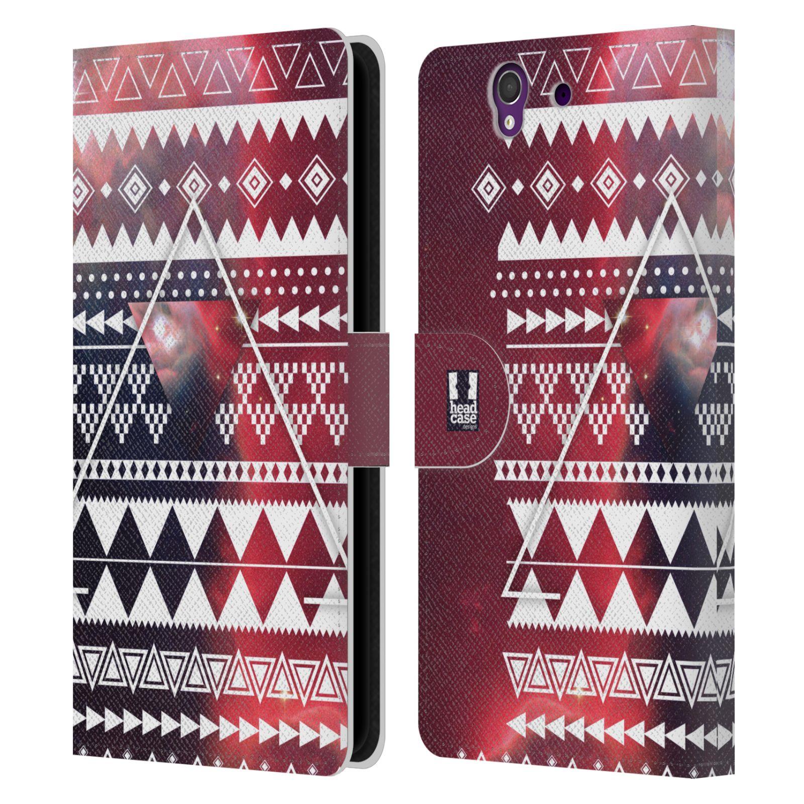HEAD CASE Flipové pouzdro pro mobil SONY XPERIA Z (C6603) aztécký motiv vesmírná mlhovina trojúhelník červená