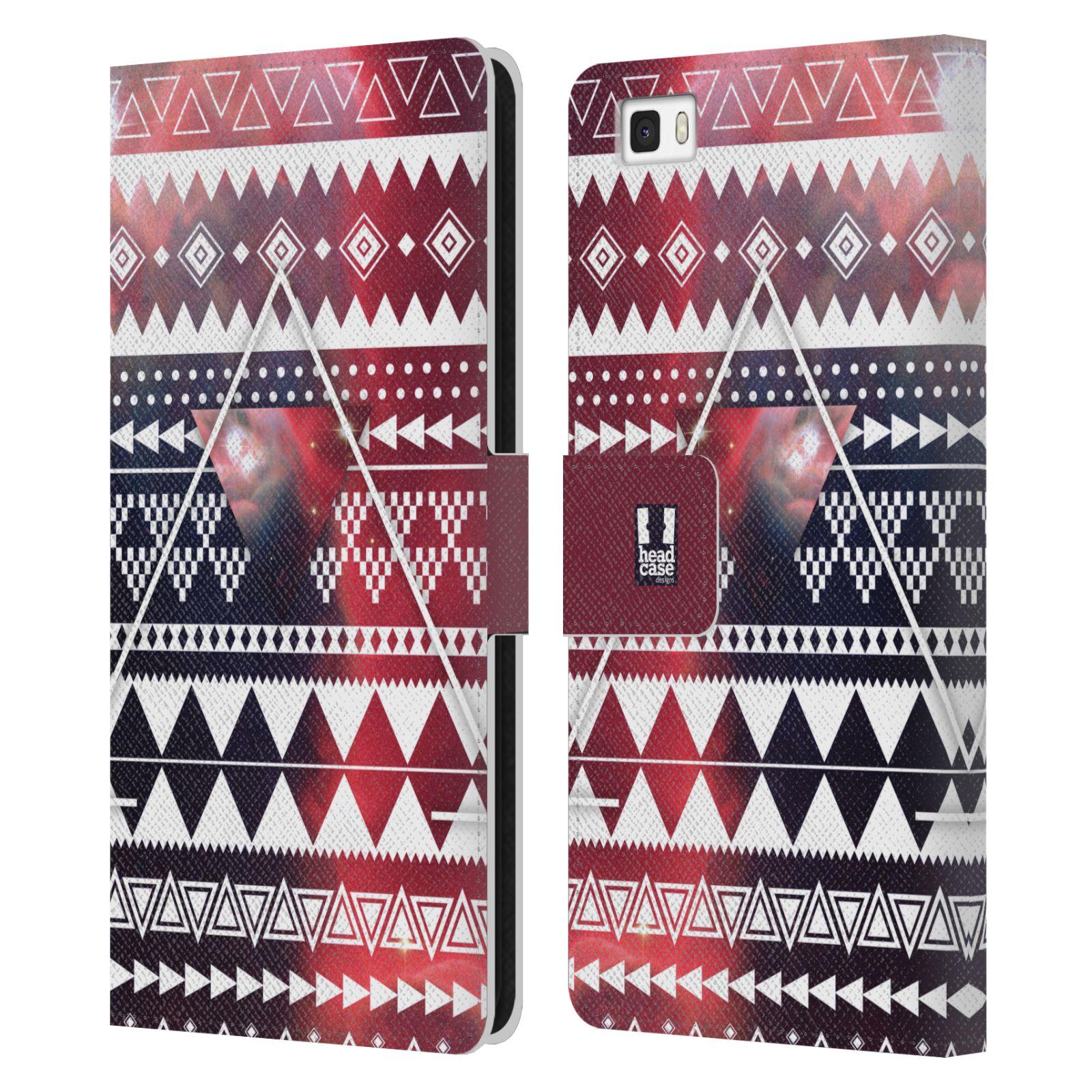 HEAD CASE Flipové pouzdro pro mobil Huawei P8 LITE aztécký motiv vesmírná mlhovina trojúhelník červená