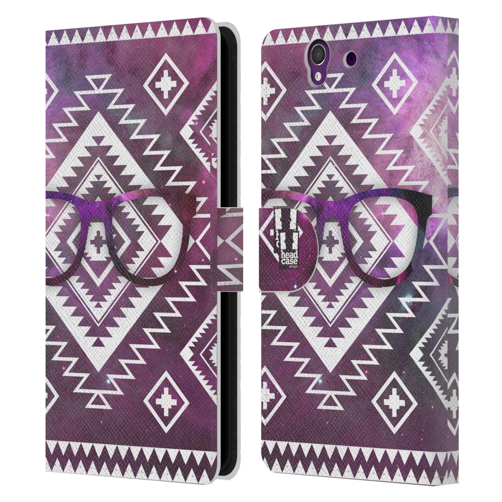 HEAD CASE Flipové pouzdro pro mobil SONY XPERIA Z (C6603) aztécký motiv vesmírná mlhovina fialová brýle