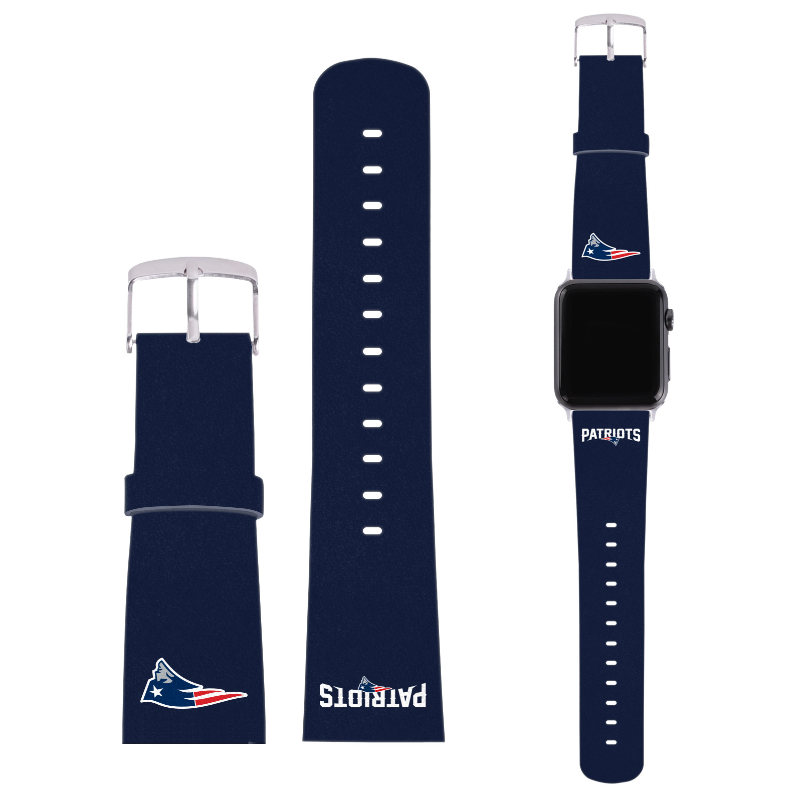 Nfl New England Patriots Logo Blue Leather Strap For Apple