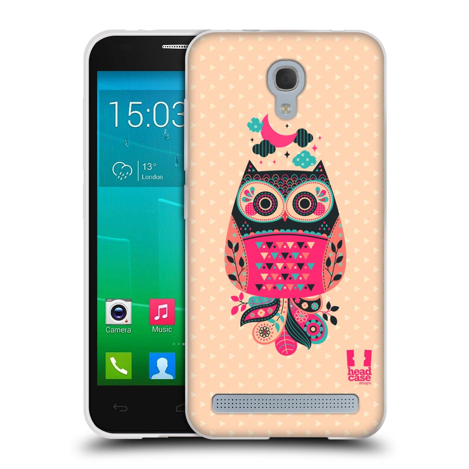 HEAD CASE silikonový obal na mobil Alcatel Idol 2 MINI S 6036Y vzor Stmívání sovička černá a korálová