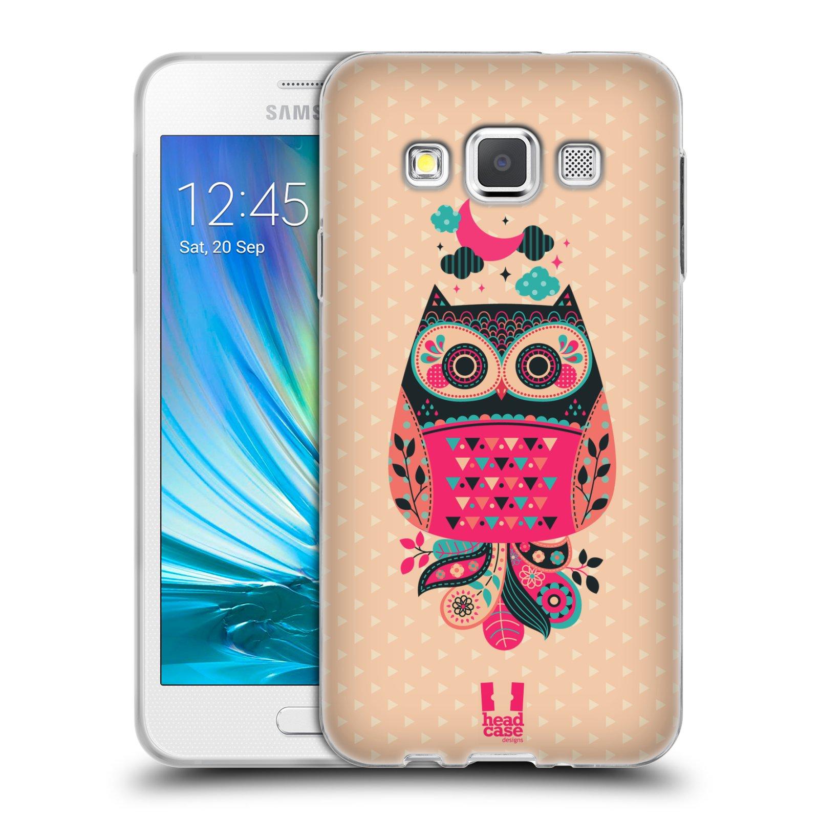 HEAD CASE silikonový obal na mobil Samsung Galaxy A3 vzor Stmívání sovička černá a korálová