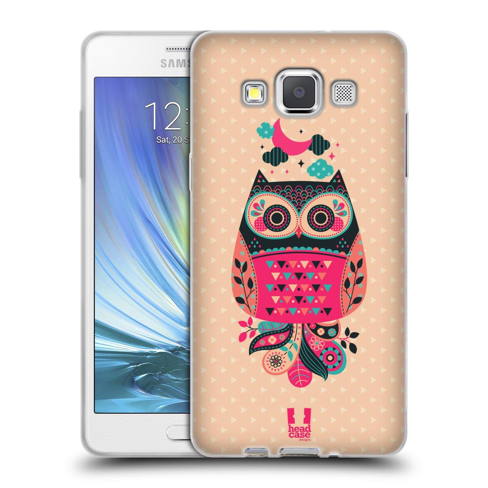 HEAD CASE silikonový obal na mobil Samsung Galaxy A5 vzor Stmívání sovička černá a korálová
