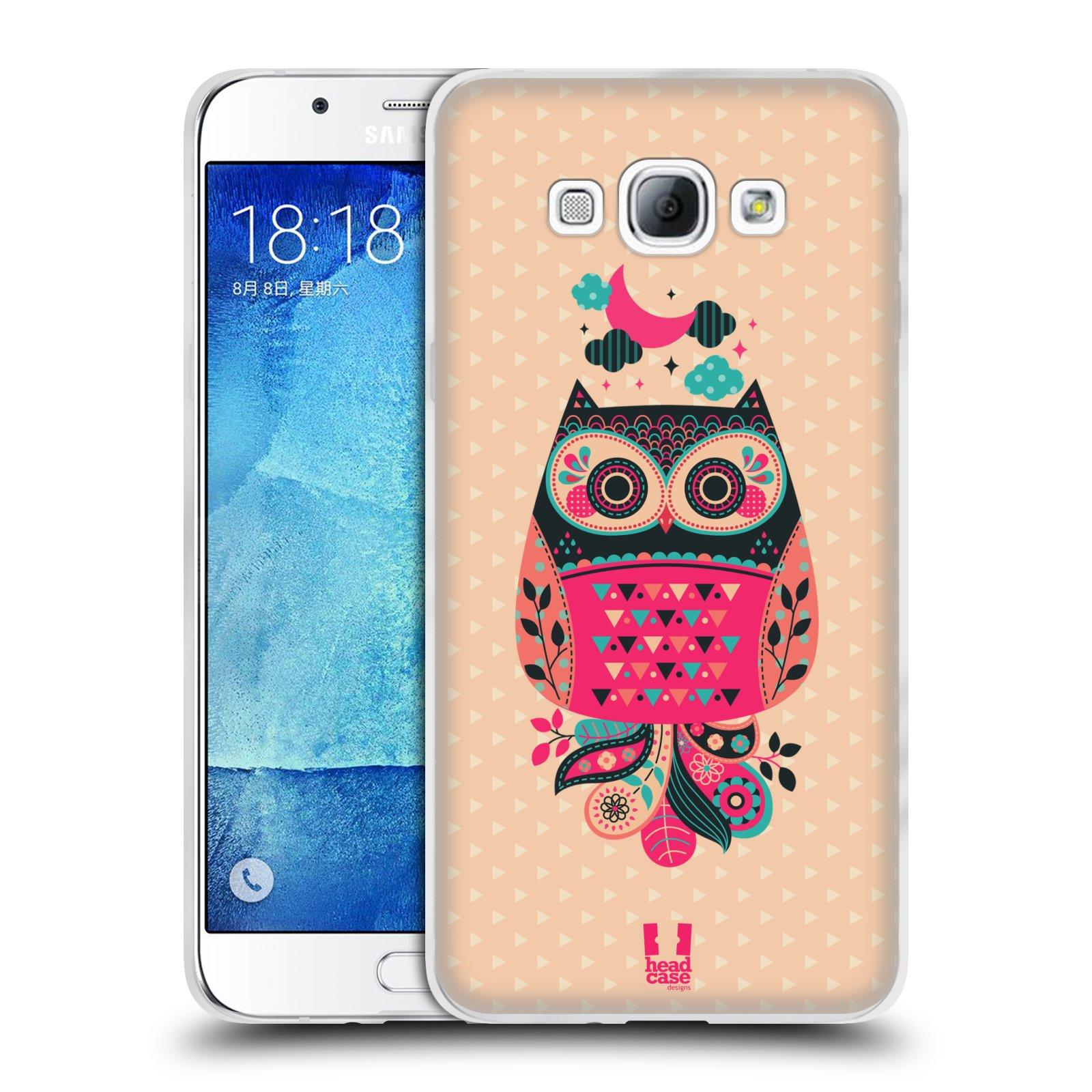 HEAD CASE silikonový obal na mobil Samsung Galaxy A8 vzor Stmívání sovička černá a korálová