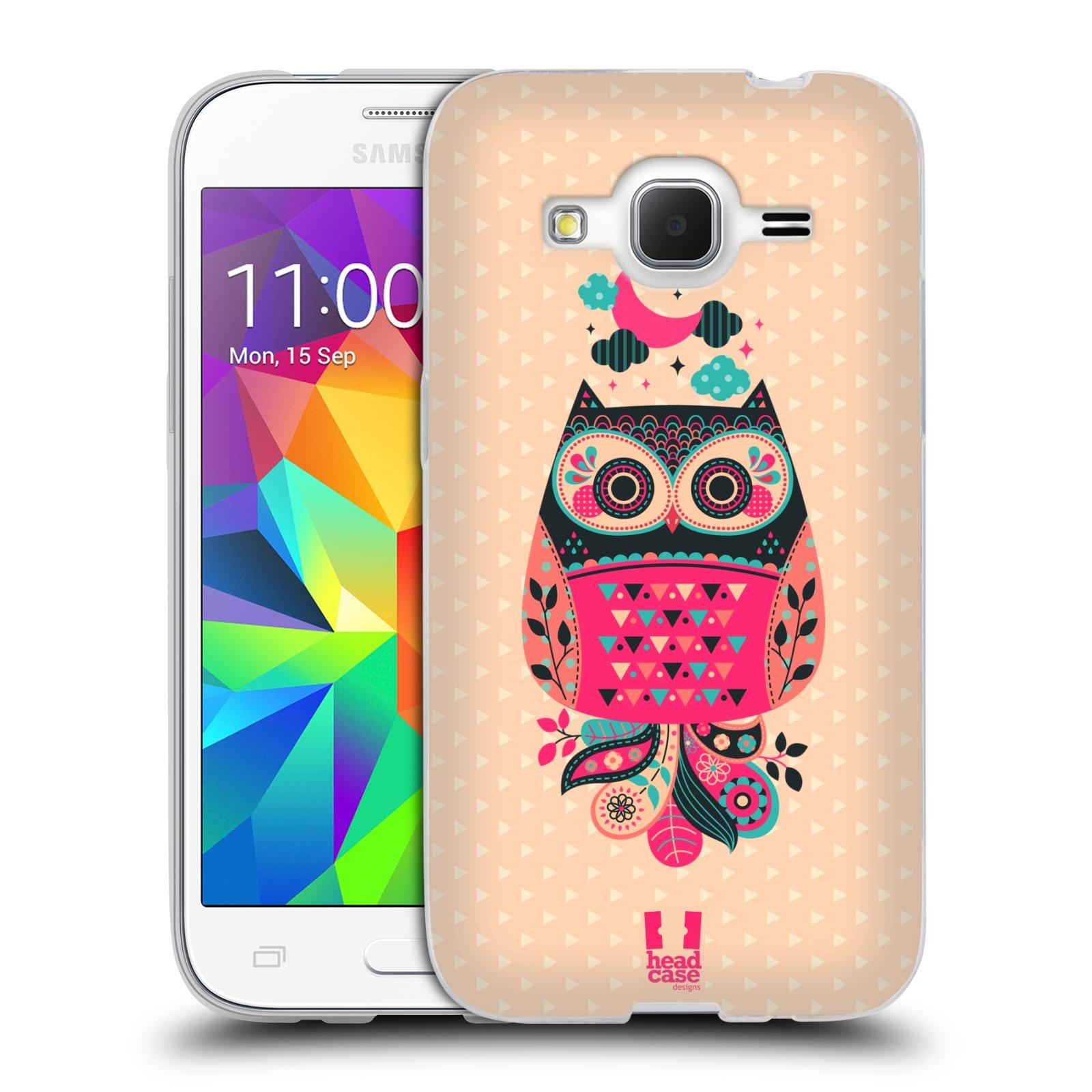 HEAD CASE silikonový obal na mobil Samsung Galaxy Core Prime (G360) vzor Stmívání sovička černá a korálová