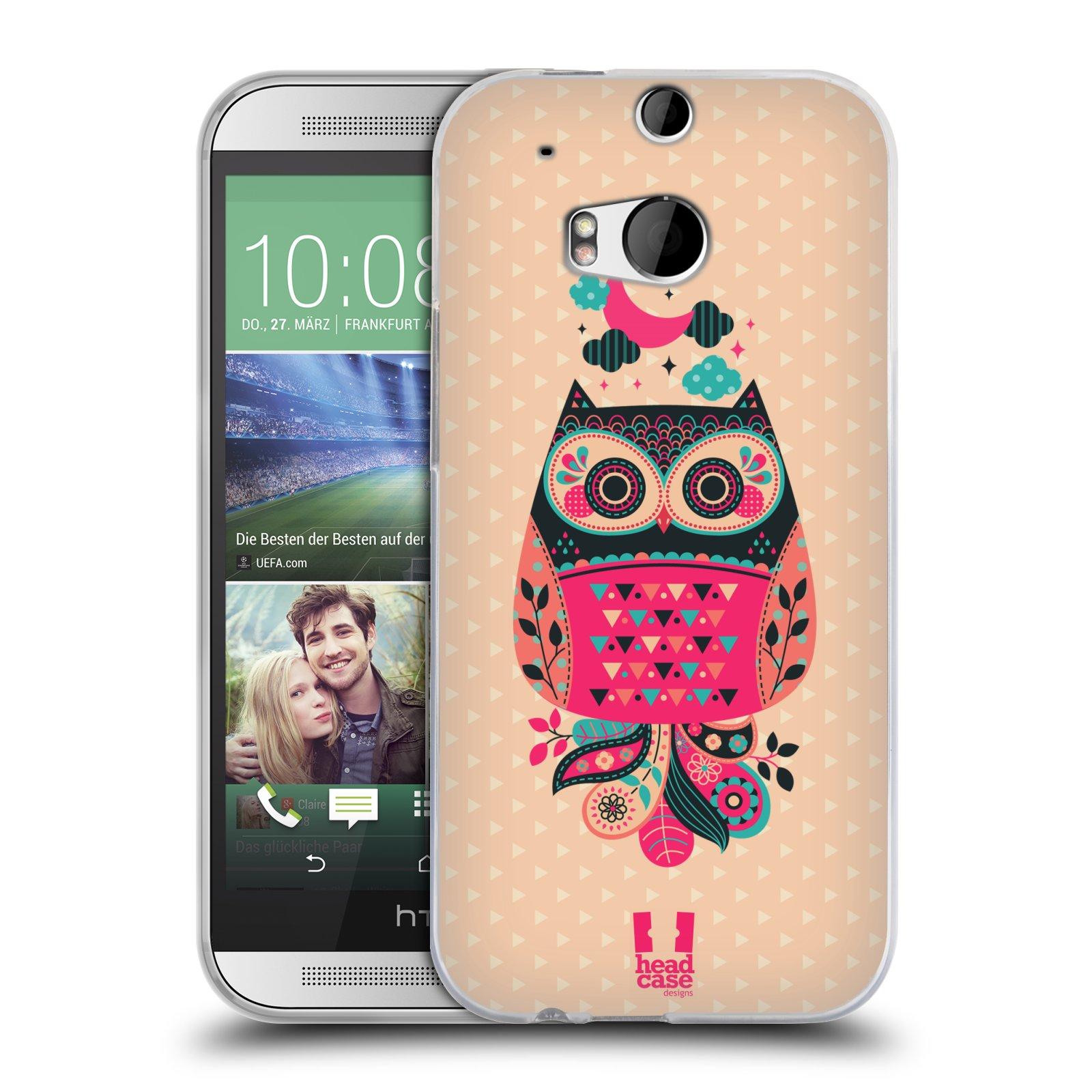 HEAD CASE silikonový obal na mobil HTC ONE (M8) vzor Stmívání sovička černá a korálová
