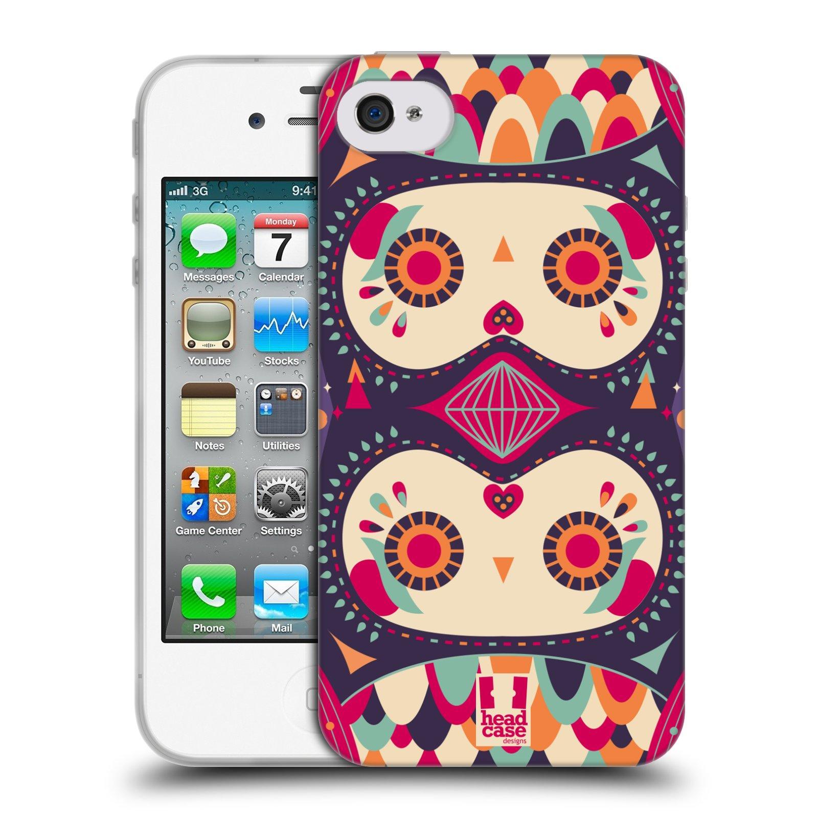 HEAD CASE silikonový obal na mobil Apple Iphone 4/4S vzor Stmívání sovička fialový sen
