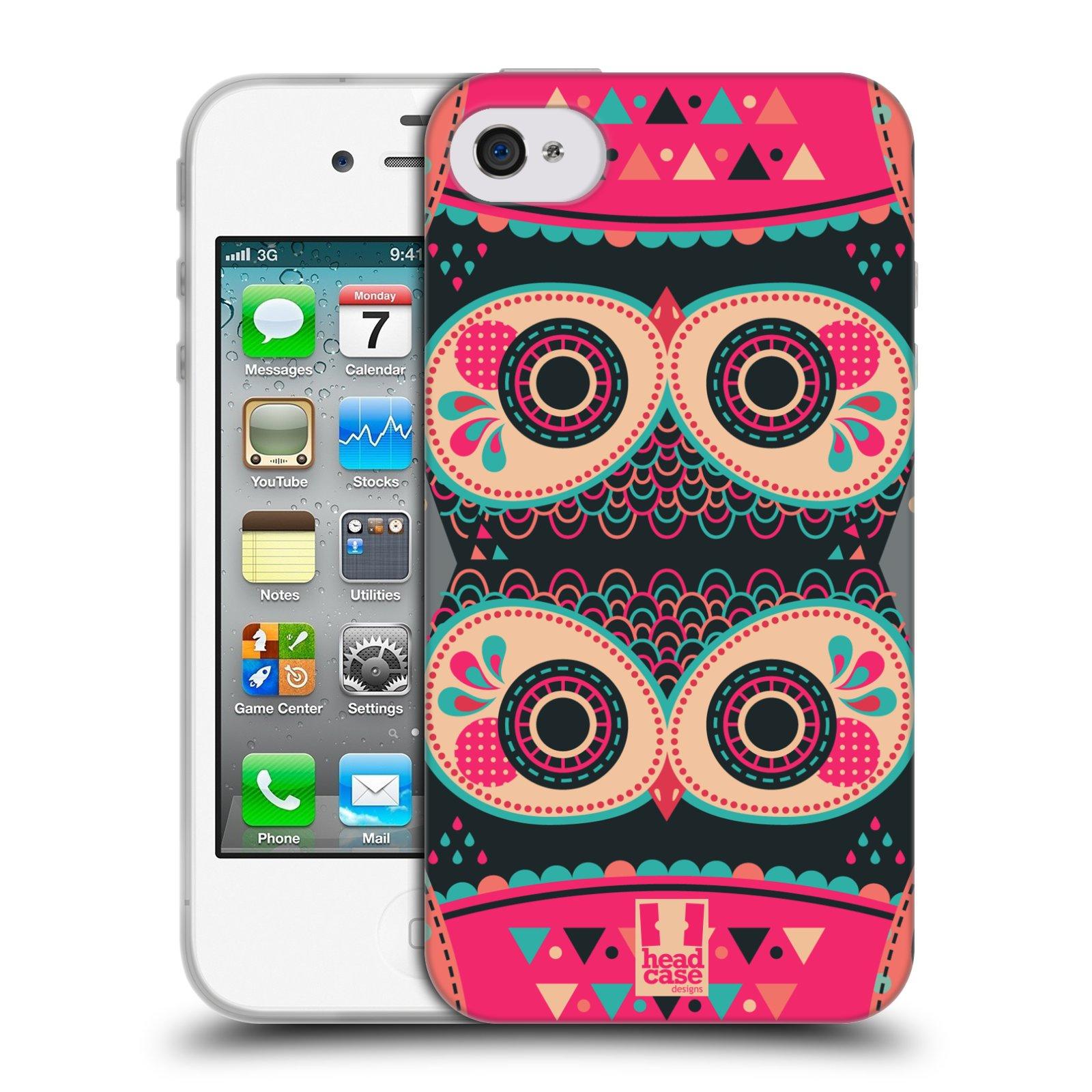 HEAD CASE silikonový obal na mobil Apple Iphone 4/4S vzor Stmívání sovička FANCY růžová