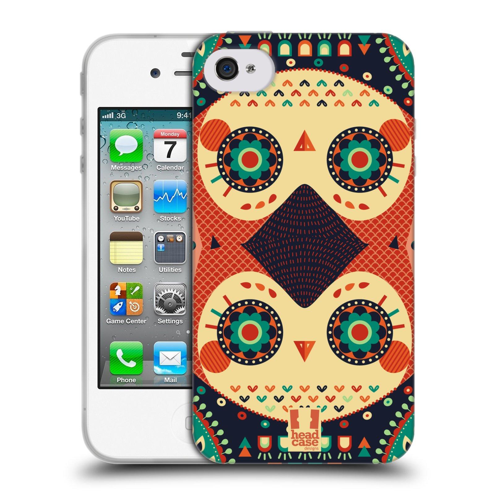 HEAD CASE silikonový obal na mobil Apple Iphone 4/4S vzor Stmívání sovička oranžová iluze