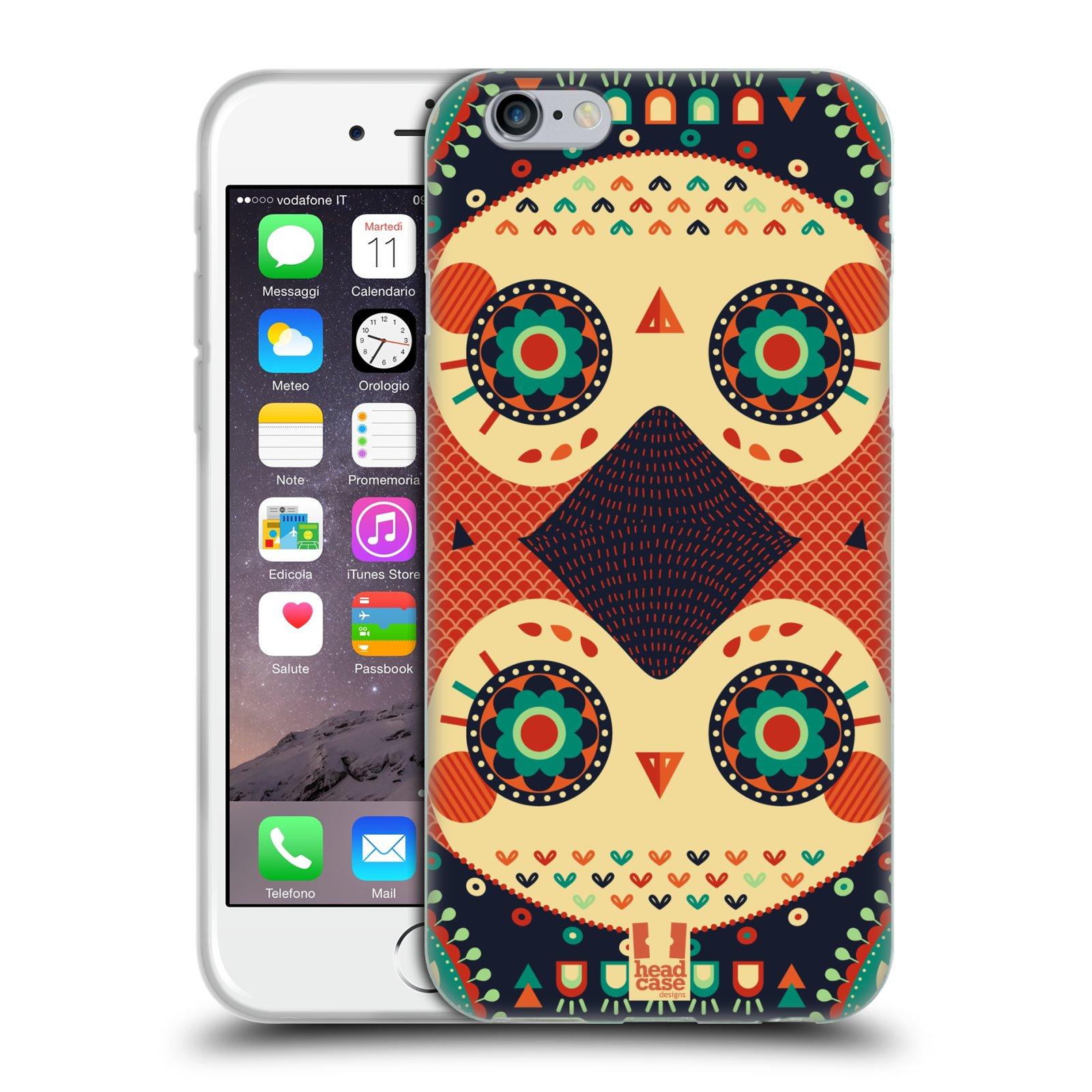 HEAD CASE silikonový obal na mobil Apple Iphone 6/6S vzor Stmívání sovička oranžová iluze