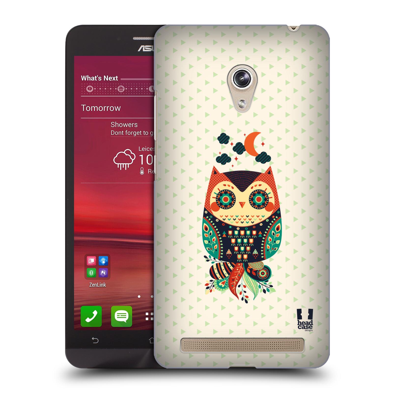 HEAD CASE plastový obal na mobil Asus Zenfone 6 vzor Stmívání sovička oranžová a zelená