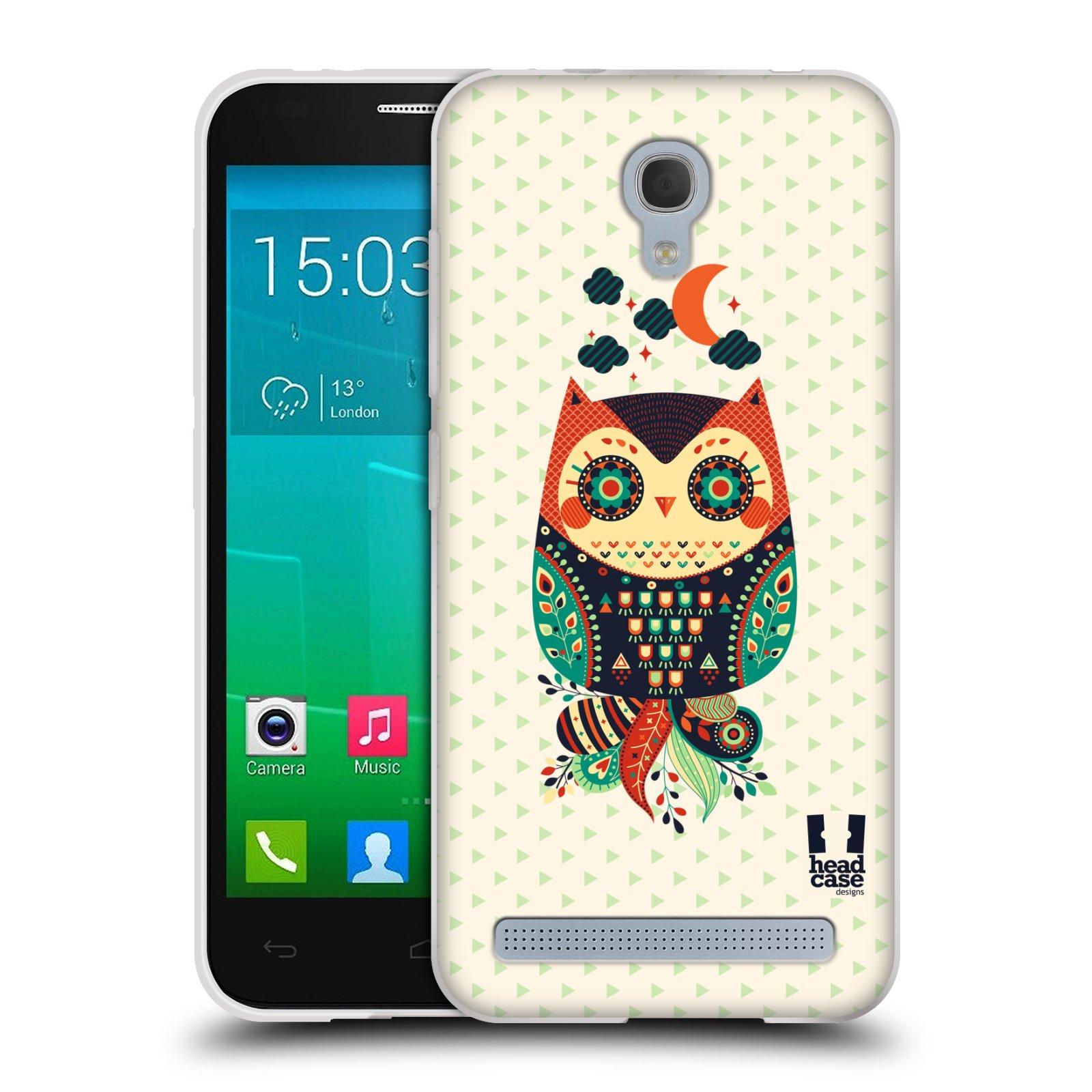 HEAD CASE silikonový obal na mobil Alcatel Idol 2 MINI S 6036Y vzor Stmívání sovička oranžová a zelená