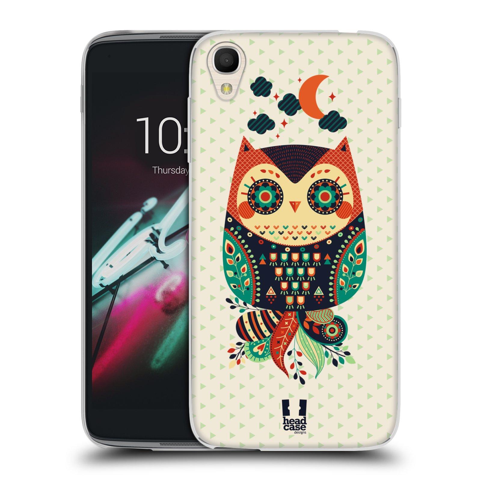 HEAD CASE silikonový obal na mobil Alcatel Idol 3 OT-6039Y (4.7) vzor Stmívání sovička oranžová a zelená