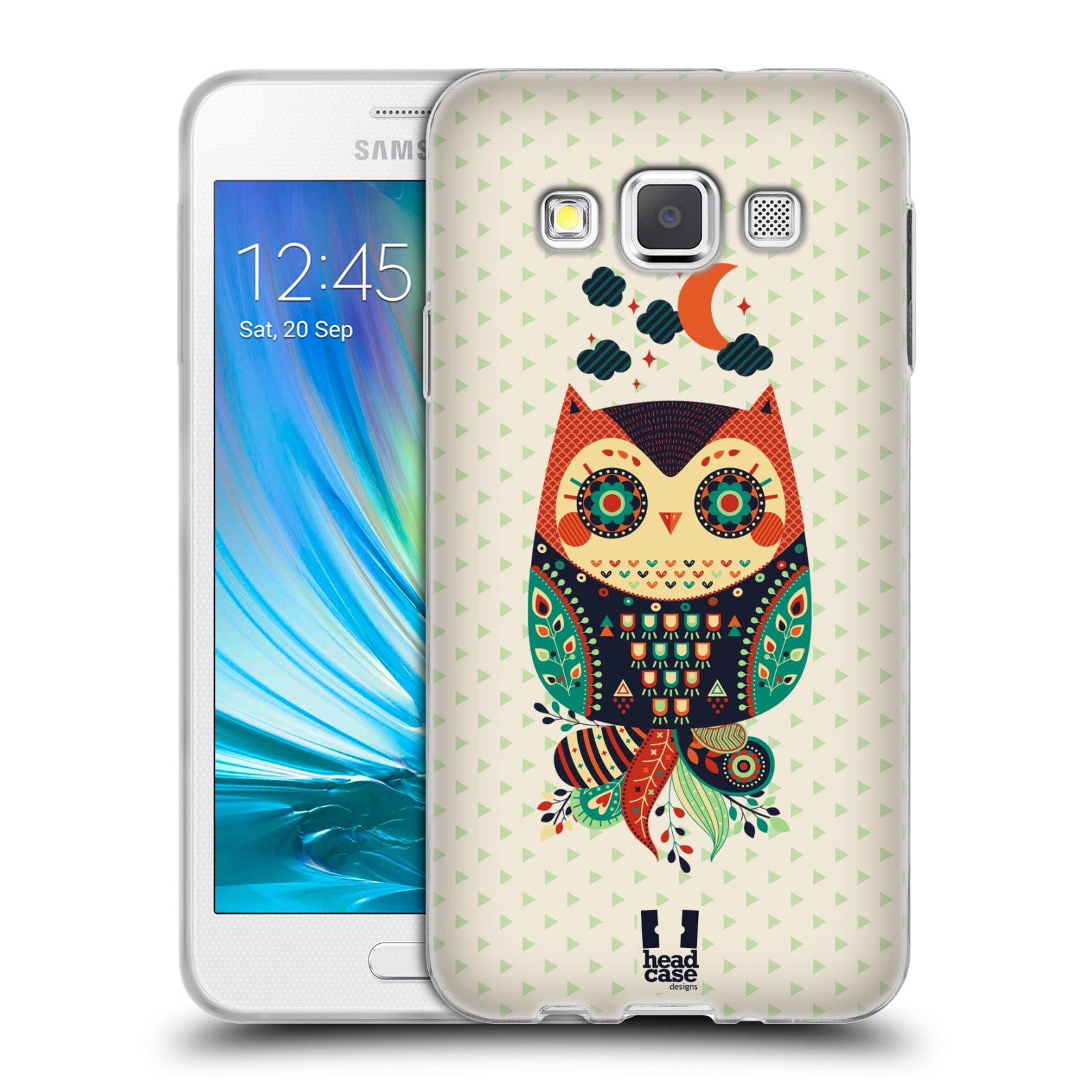 HEAD CASE silikonový obal na mobil Samsung Galaxy A3 vzor Stmívání sovička oranžová a zelená