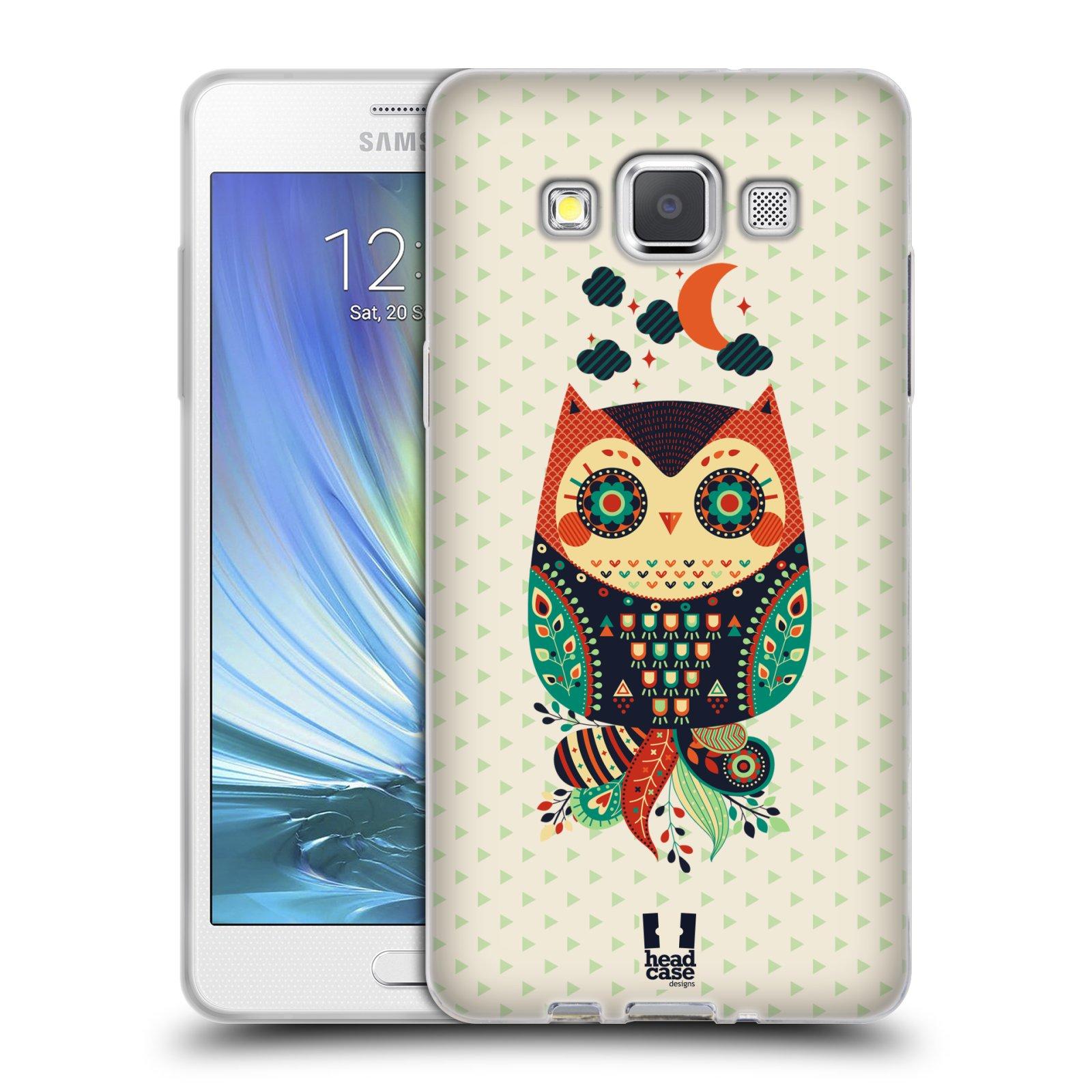 HEAD CASE silikonový obal na mobil Samsung Galaxy A5 vzor Stmívání sovička oranžová a zelená