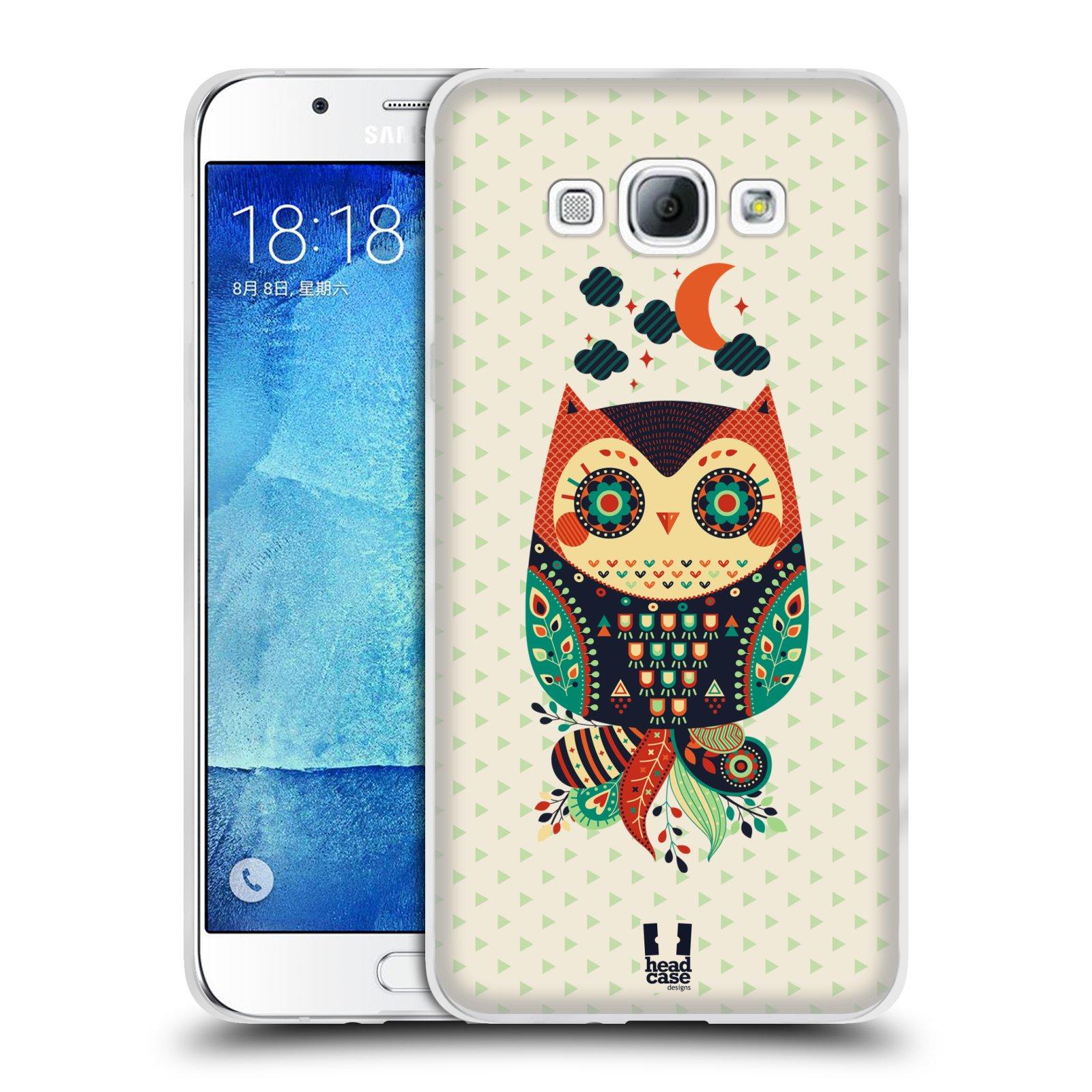 HEAD CASE silikonový obal na mobil Samsung Galaxy A8 vzor Stmívání sovička oranžová a zelená