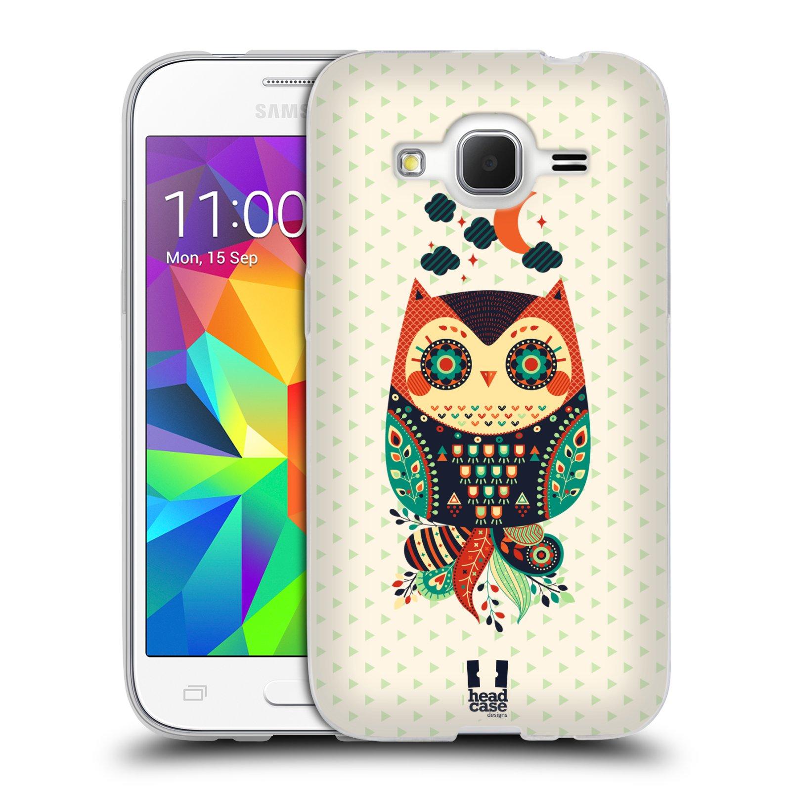 HEAD CASE silikonový obal na mobil Samsung Galaxy Core Prime (G360) vzor Stmívání sovička oranžová a zelená