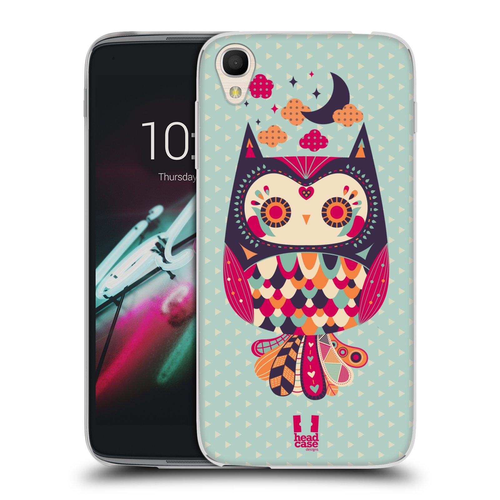 HEAD CASE silikonový obal na mobil Alcatel Idol 3 OT-6039Y (4.7) vzor Stmívání sovička růžová a fialová