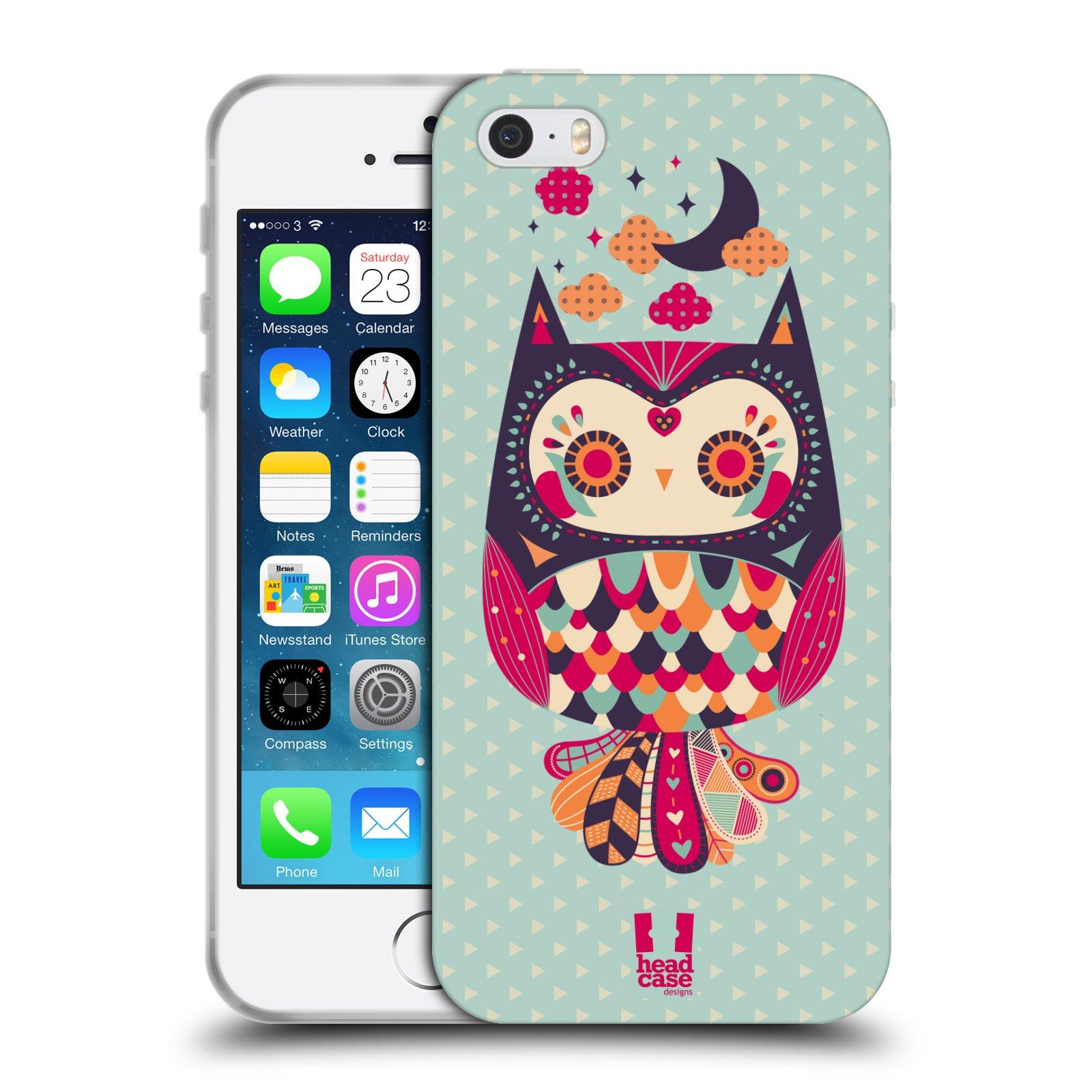 HEAD CASE silikonový obal na mobil Apple Iphone 5/5S vzor Stmívání sovička růžová a fialová