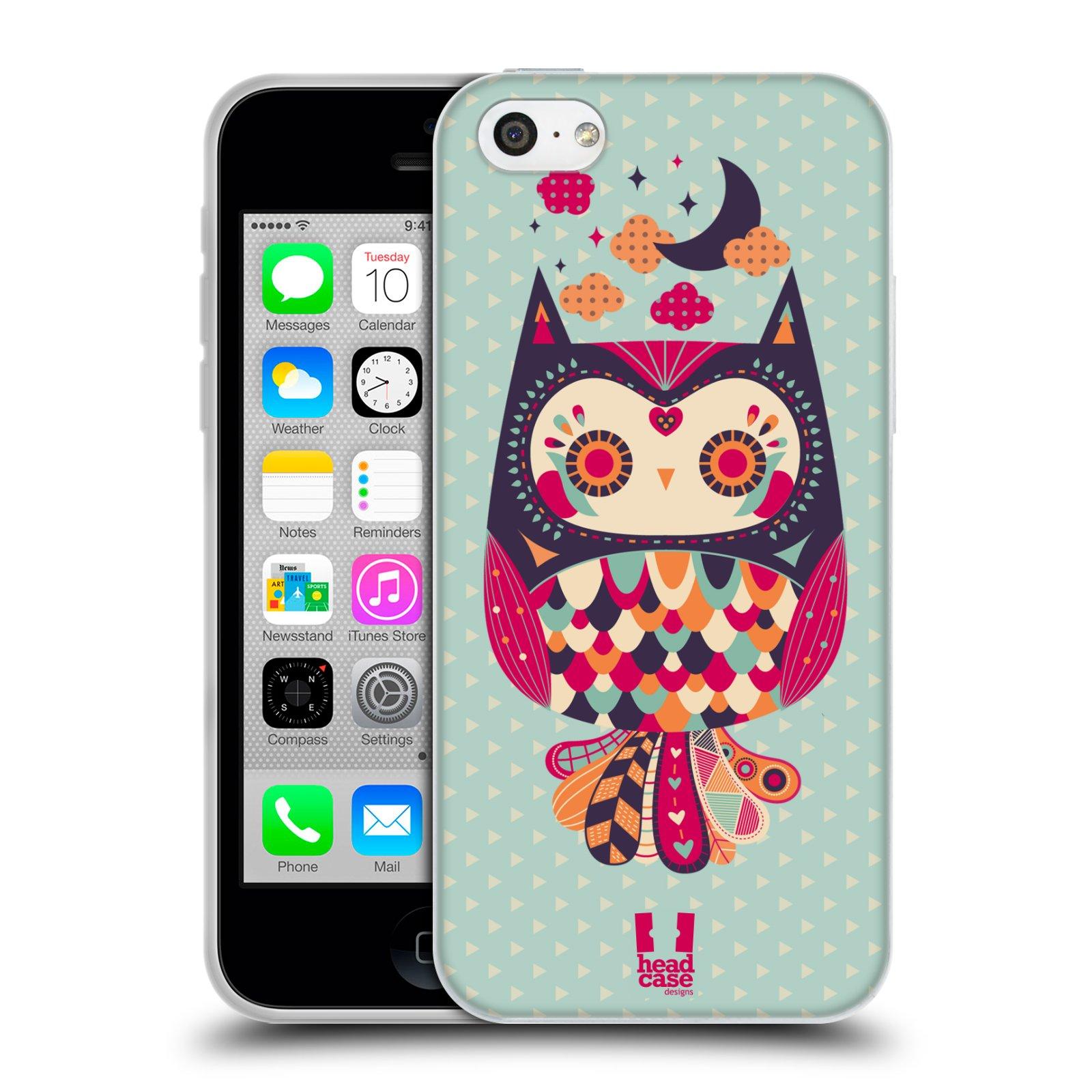 HEAD CASE silikonový obal na mobil Apple Iphone 5C vzor Stmívání sovička růžová a fialová