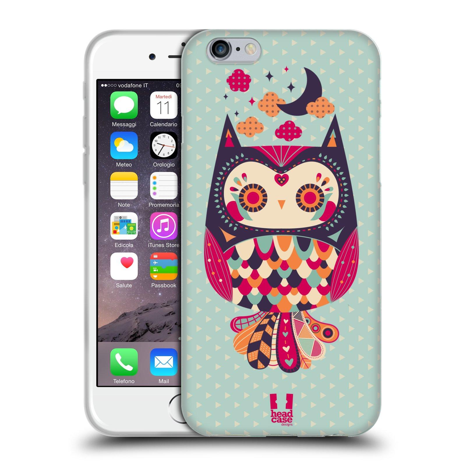 HEAD CASE silikonový obal na mobil Apple Iphone 6/6S vzor Stmívání sovička růžová a fialová