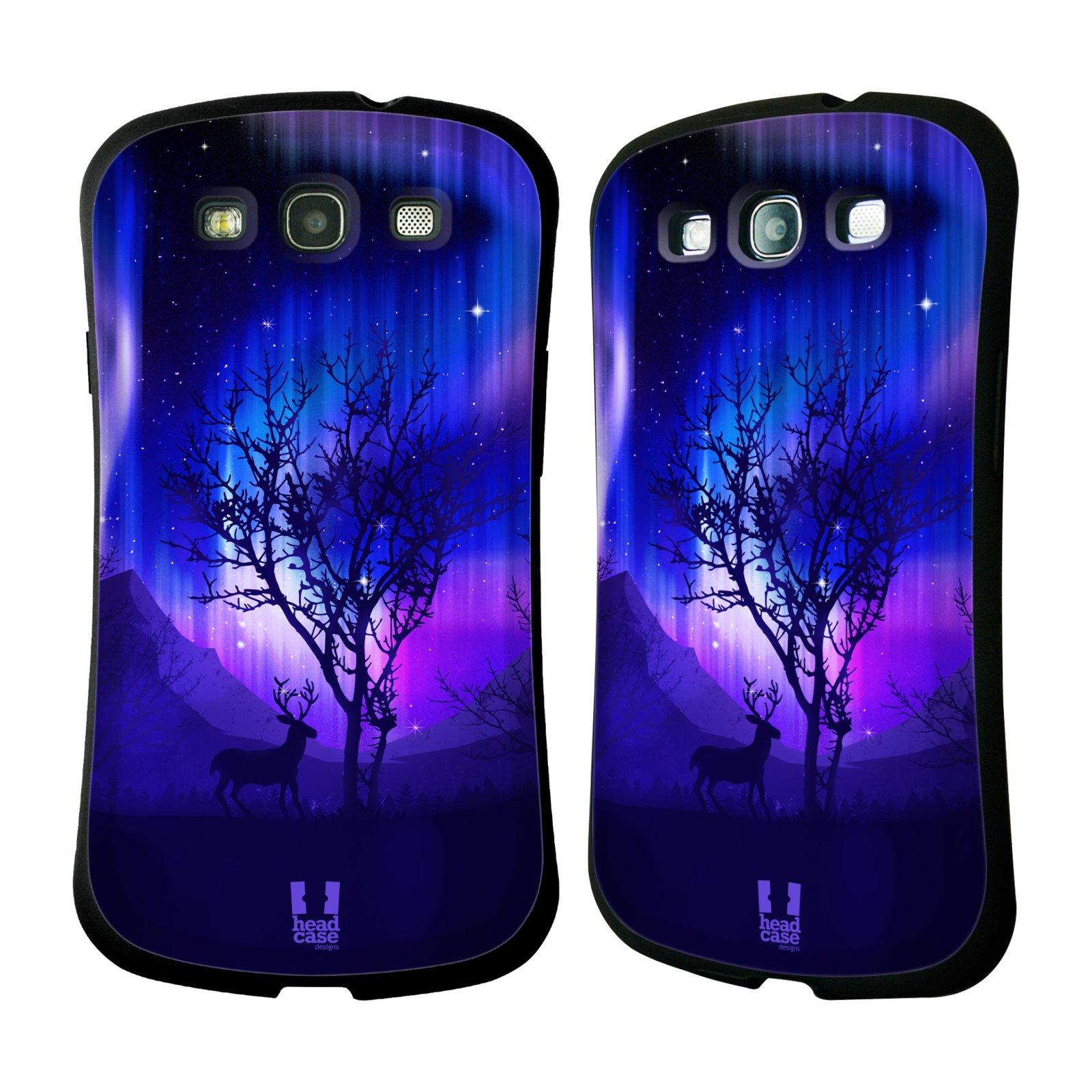 HEAD CASE silikon/plast odolný obal na mobil Samsung Galaxy S3 vzor Severní polární záře JELEN A STROM FIALOVÁ