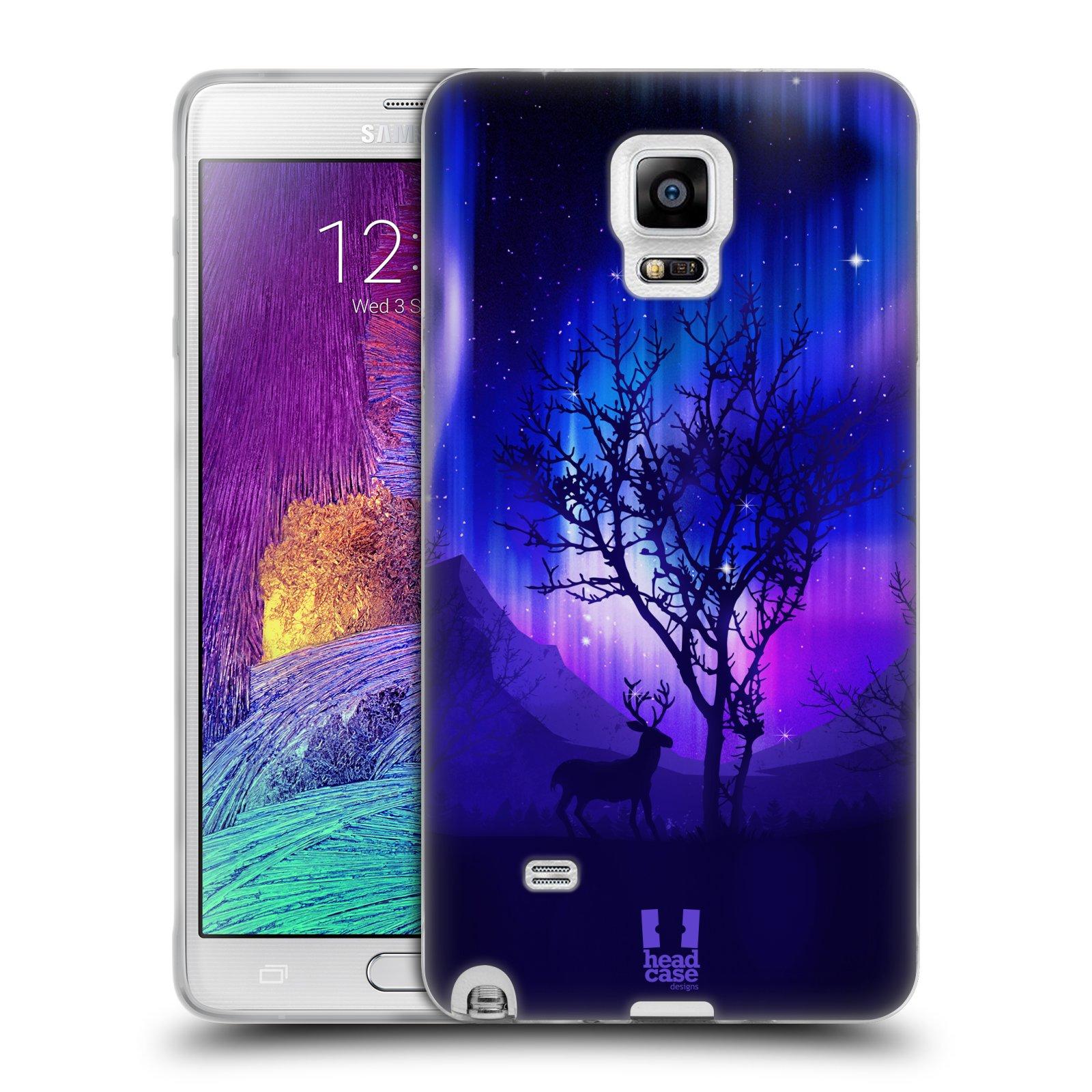 HEAD CASE silikonový obal na mobil Samsung Galaxy Note 4 (N910) vzor Severní polární záře JELEN A STROM FIALOVÁ