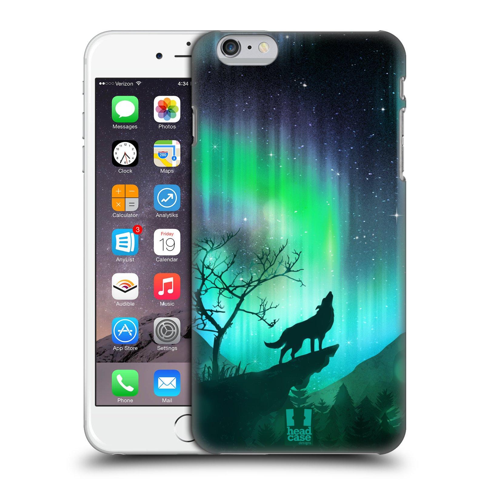 Plastové pouzdro pro mobil Apple Iphone 6 PLUS / 6S PLUS vzor Severní polární záře VYJÍCÍ VLK ZELENÁ