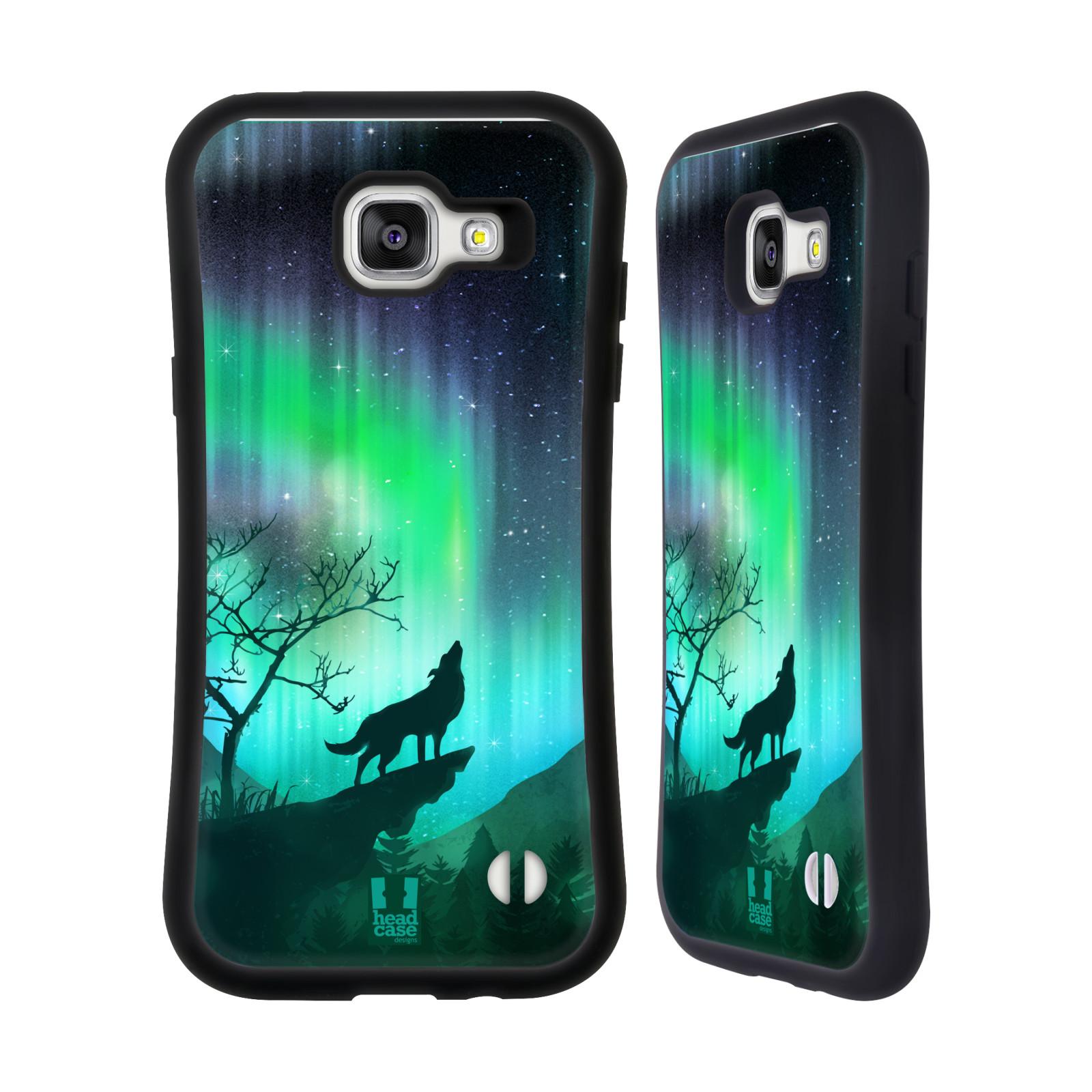 HEAD CASE silikon/plast odolný obal na mobil Samsung Galaxy A5 2016 vzor Severní polární záře VYJÍCÍ VLK ZELENÁ
