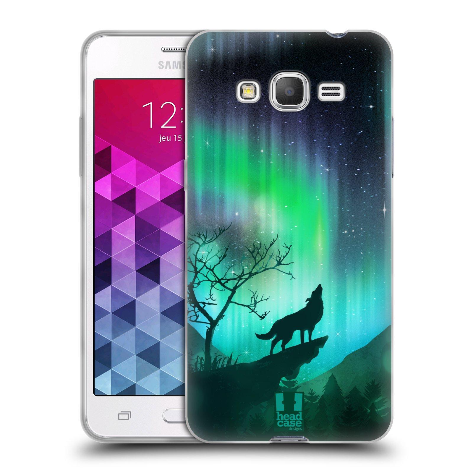 HEAD CASE silikonový obal na mobil Samsung Galaxy GRAND PRIME VE vzor  Severní polární záře VYJÍCÍ VLK ZELENÁ 2a8cce331a1