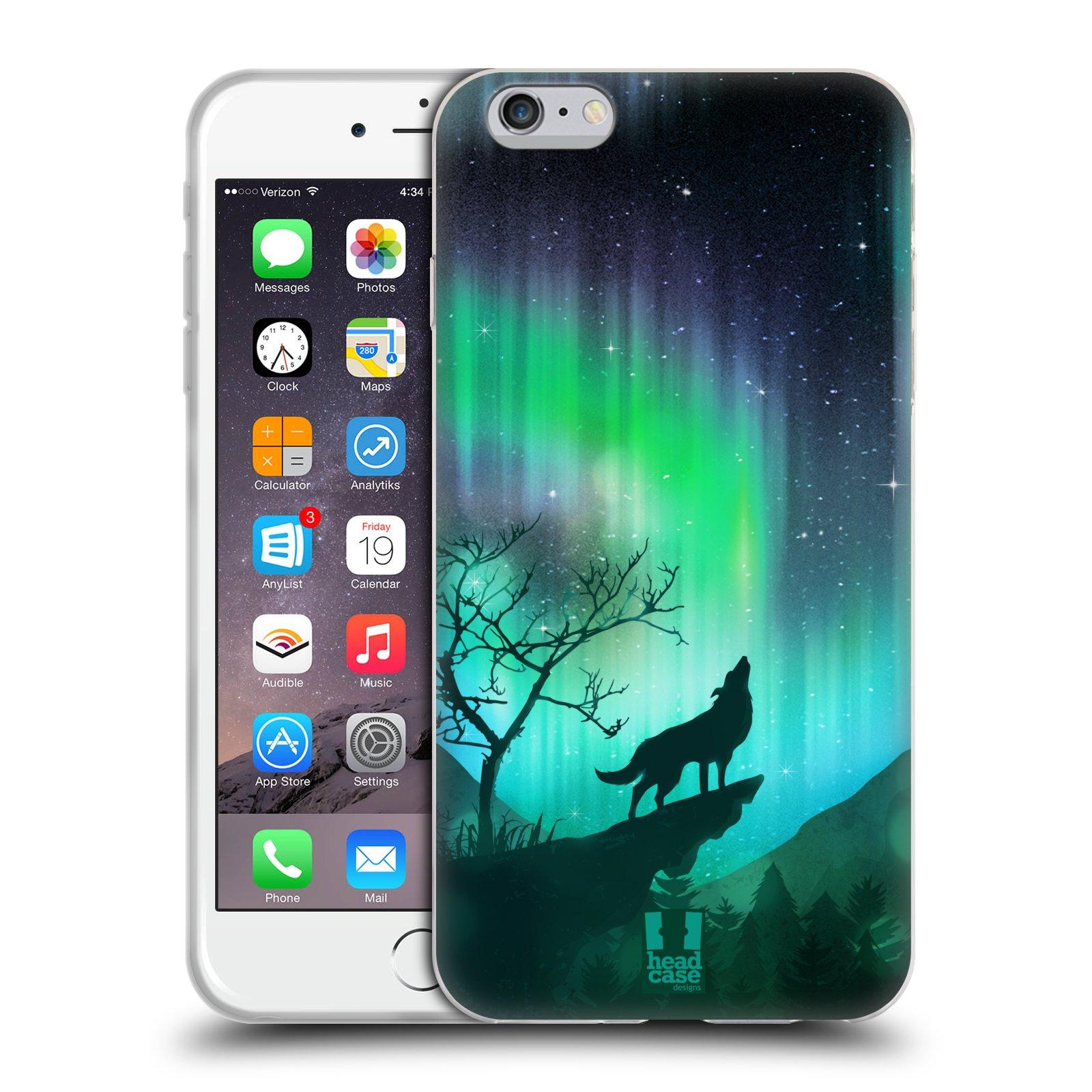 HEAD CASE silikonový obal na mobil Apple Iphone 6 PLUS/ 6S PLUS vzor Severní polární záře VYJÍCÍ VLK ZELENÁ