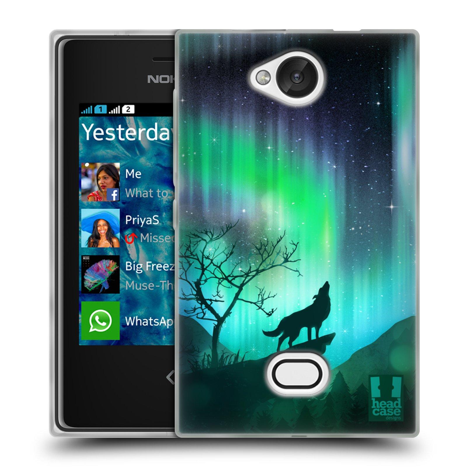 HEAD CASE silikonový obal na mobil NOKIA Asha 503 vzor Severní polární záře VYJÍCÍ VLK ZELENÁ