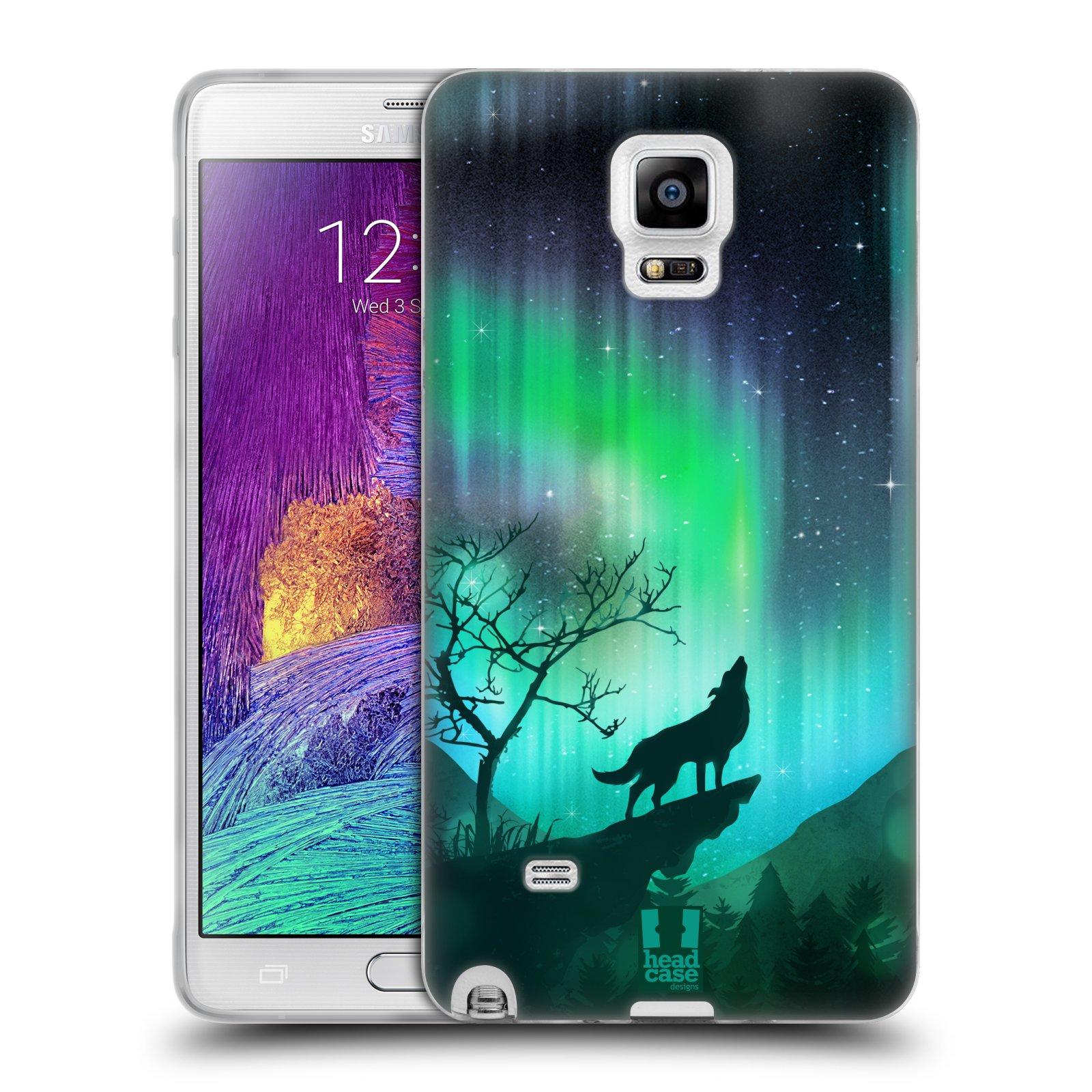 HEAD CASE silikonový obal na mobil Samsung Galaxy Note 4 (N910) vzor Severní polární záře VYJÍCÍ VLK ZELENÁ
