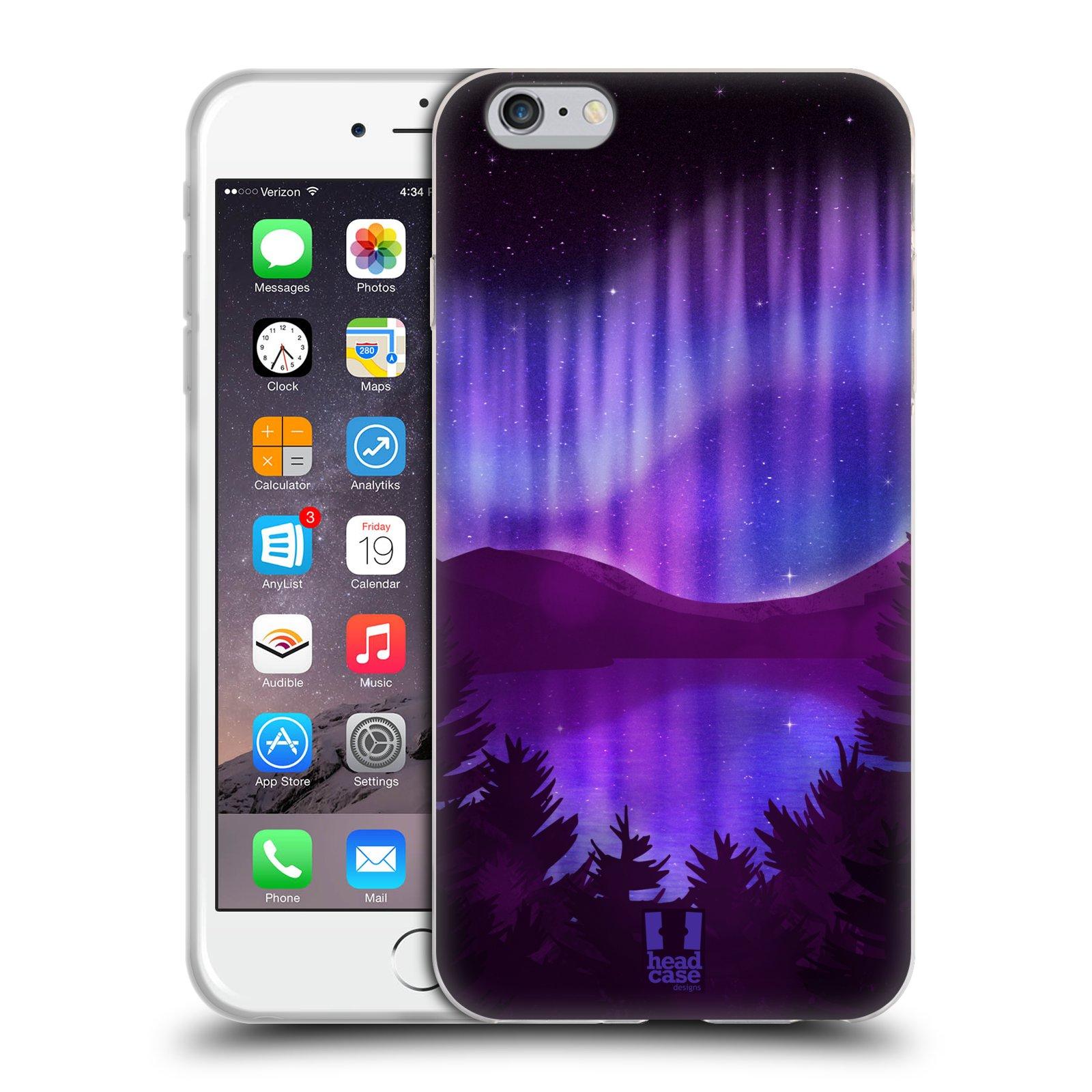HEAD CASE silikonový obal na mobil Apple Iphone 6 PLUS/ 6S PLUS vzor Severní polární záře POHLED NA JEZERO