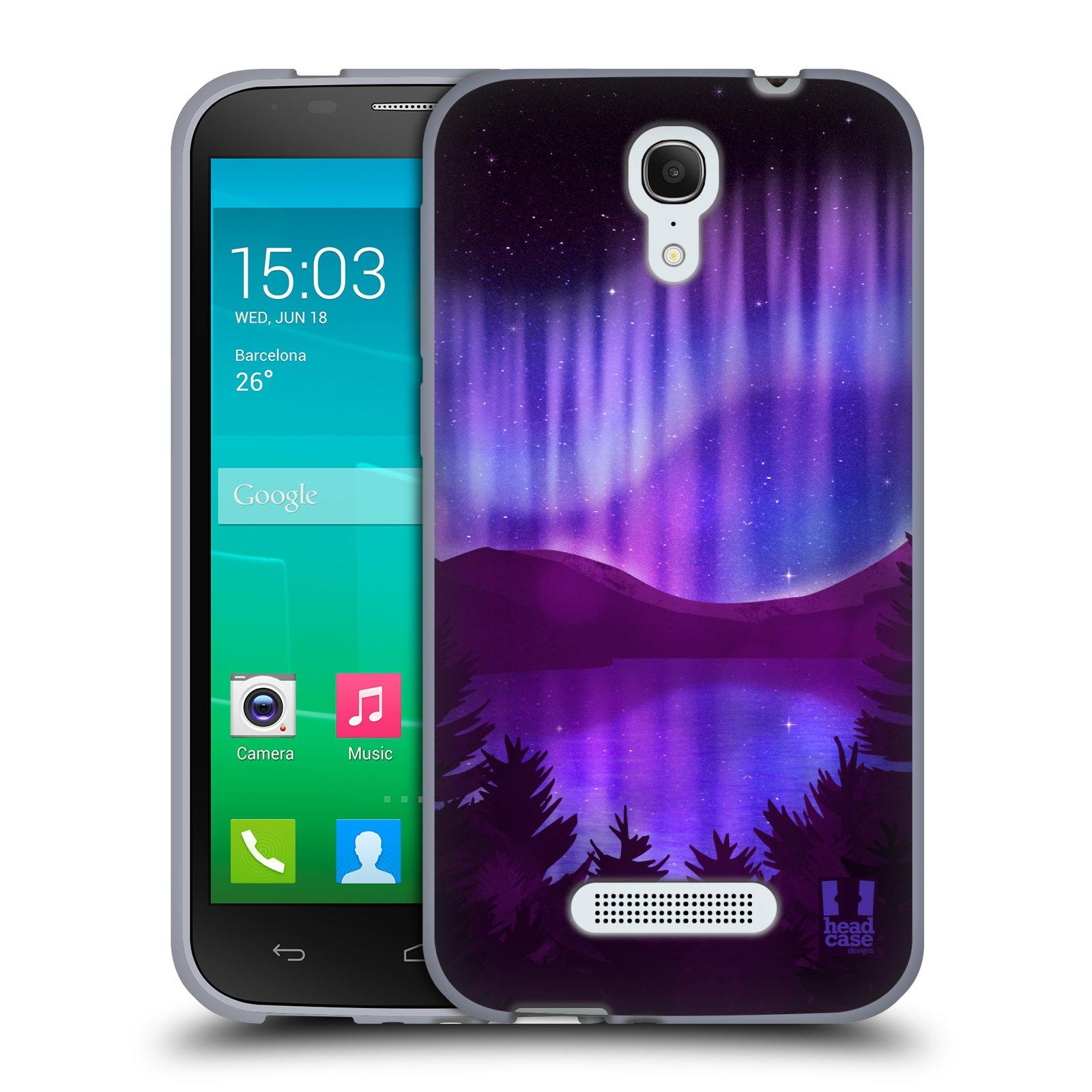 HEAD CASE silikonový obal na mobil Alcatel POP S7 vzor Severní polární záře POHLED NA JEZERO