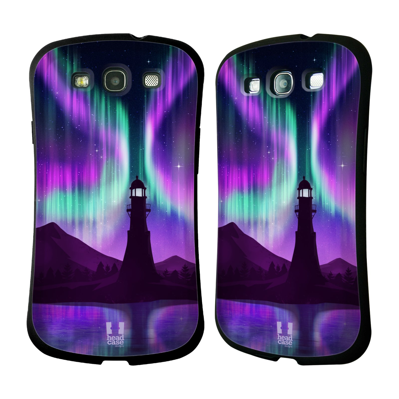 HEAD CASE silikon/plast odolný obal na mobil Samsung Galaxy S3 vzor Severní polární záře FIALOVÁ MAJÁK